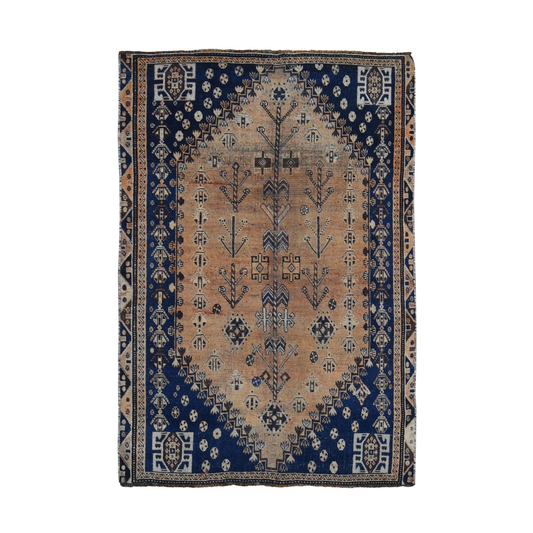 "4'3""x6'3"" Distressed Colors Vintage Persian Shiraz Clean Worn Down Pure Wool Hand Woven Oriental Rug"