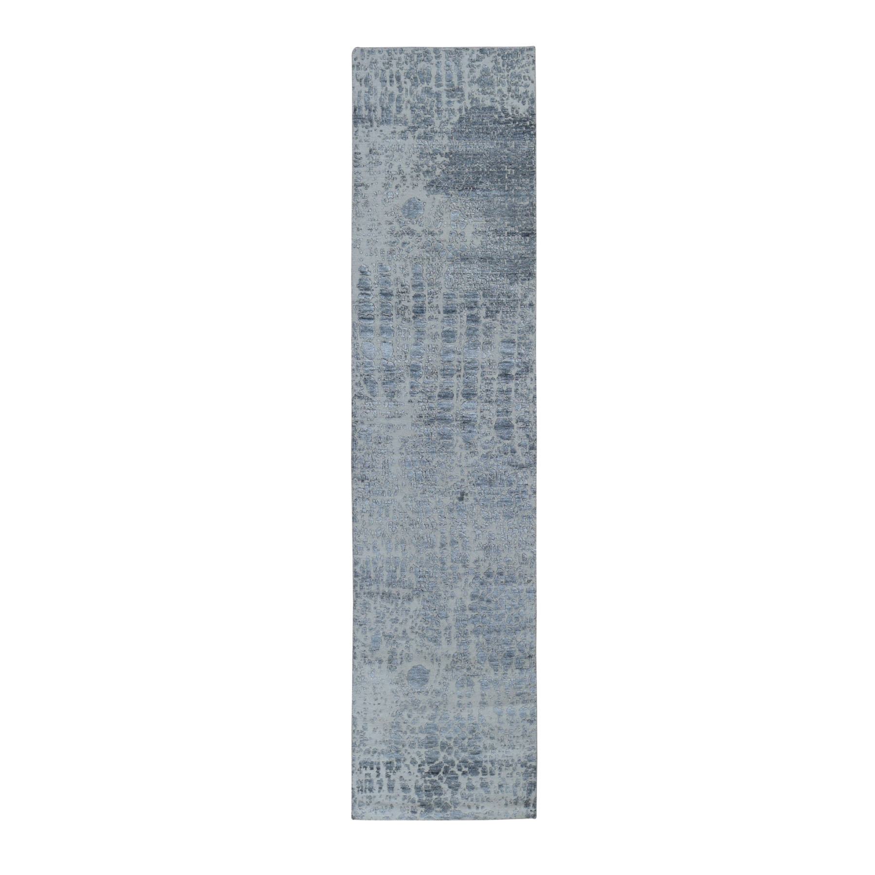 "2'5""x10'1"" Abstract Design Wool And Silk Hi-Low Pile Denser Weave Runner Hand Woven Oriental Rug"
