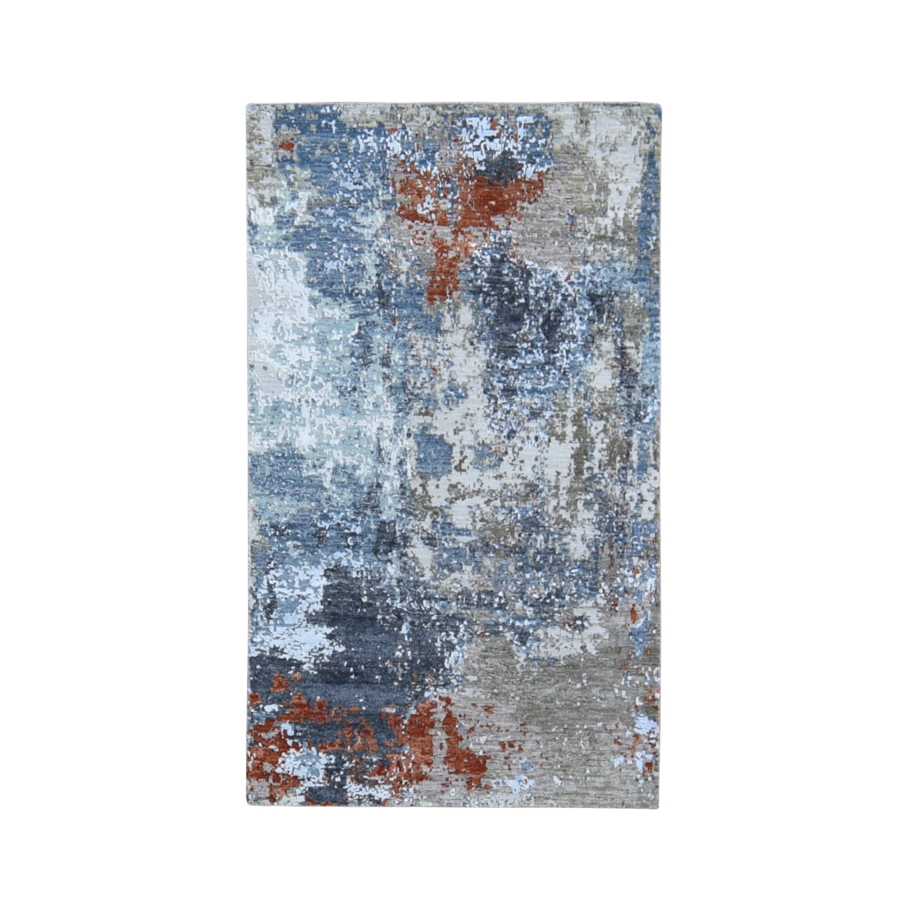 "3'x5'2"" Red Abstract Design Wool And Silk Hi-Low Pile Denser Weave Hand Woven Oriental Rug"