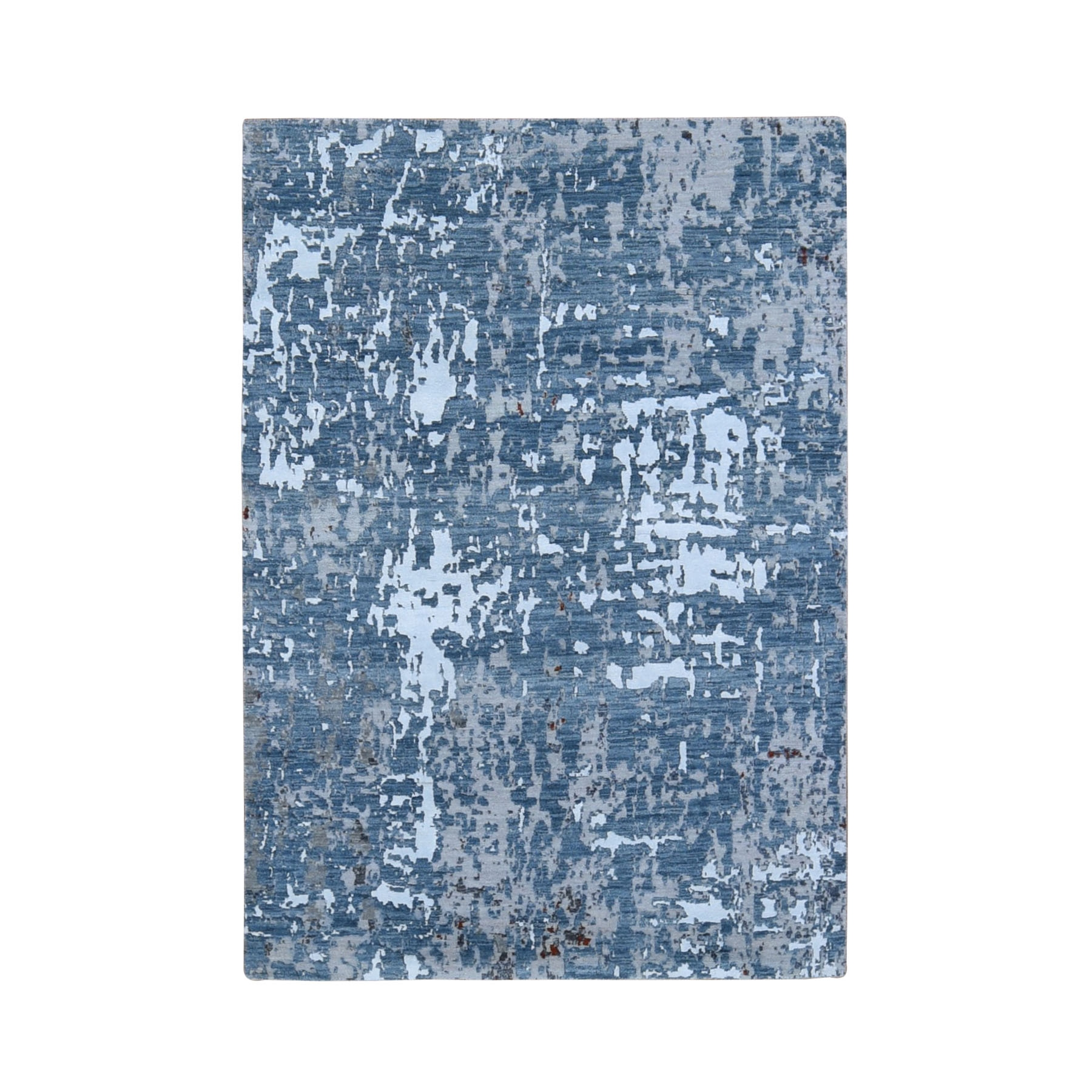 4'x6' Gray Abstract Design Wool And Silk Hi-Low Pile Denser Weave Hand Woven Oriental Rug
