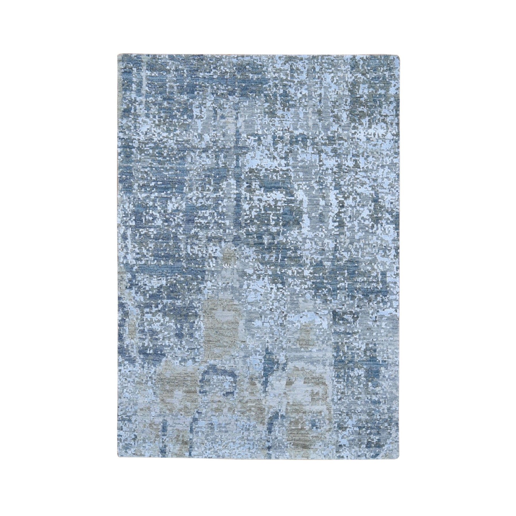 "4'x6'1"" Gray Abstract Design Wool And Silk Hi-Low Pile Denser Weave Hand Woven Oriental Rug"