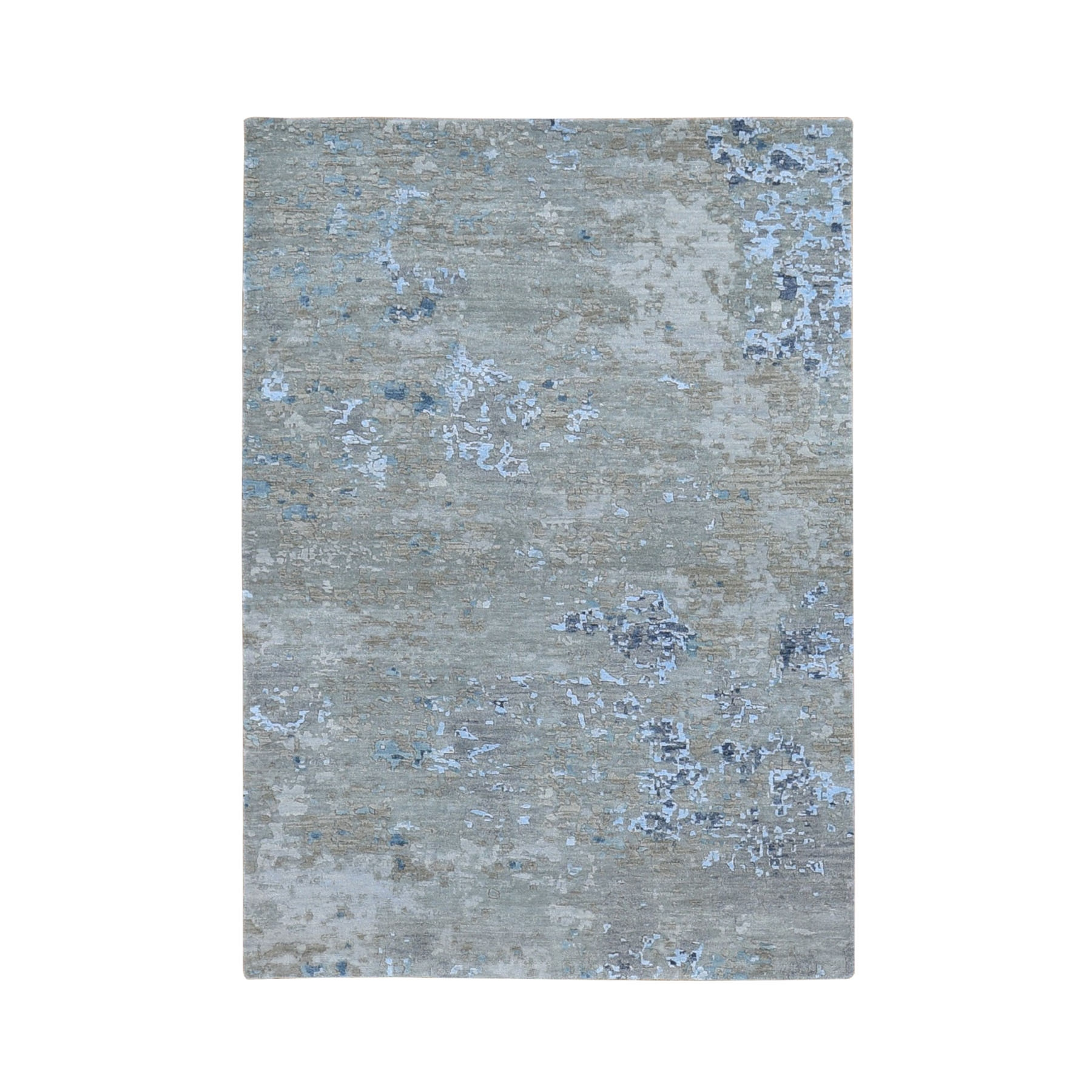 4'x6' Abstract Design Wool And Silk Denser Weave Hand Woven Modern Rug