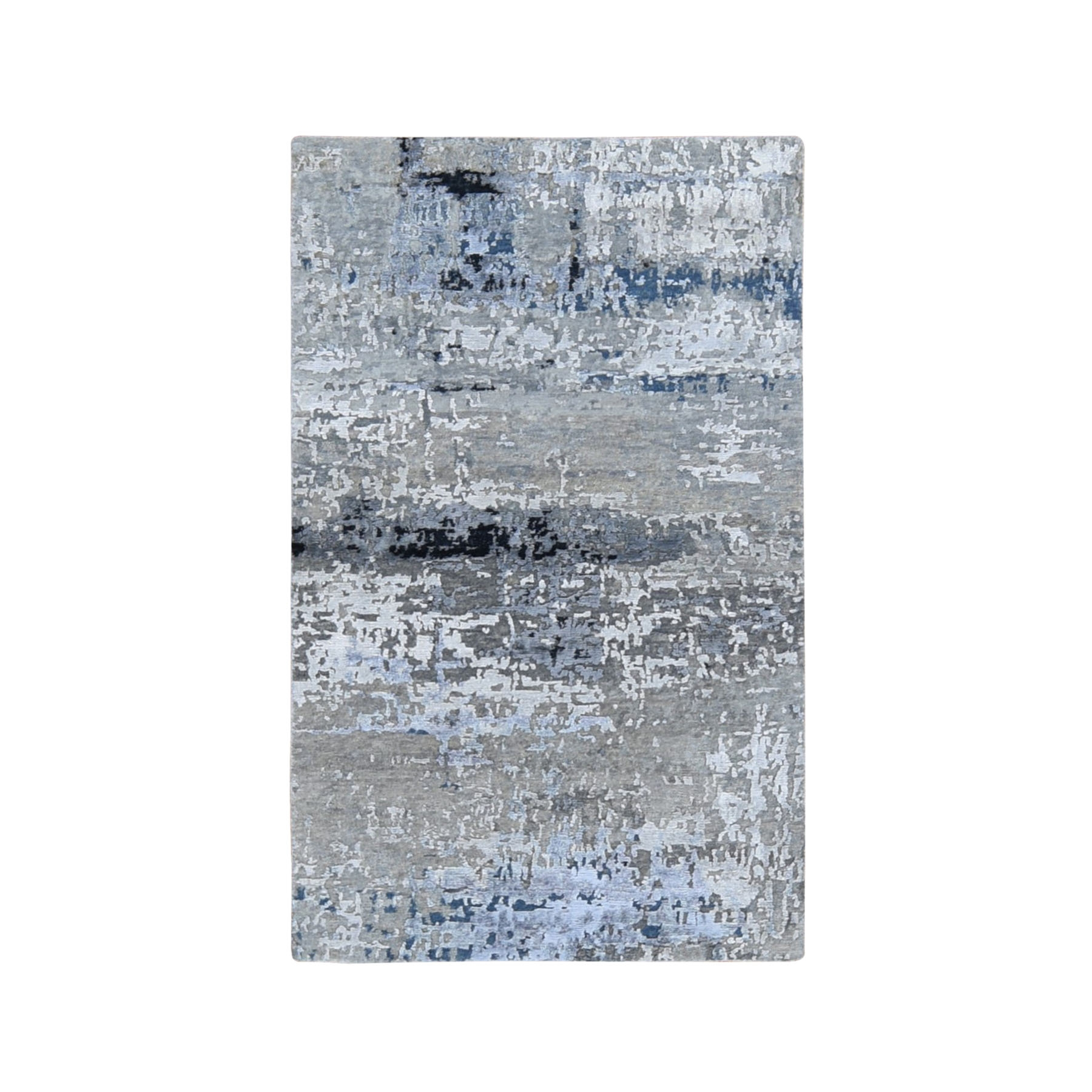 "2'9""x4'9"" Gray Abstract Design Wool And Silk Hand Woven Oriental Rug"