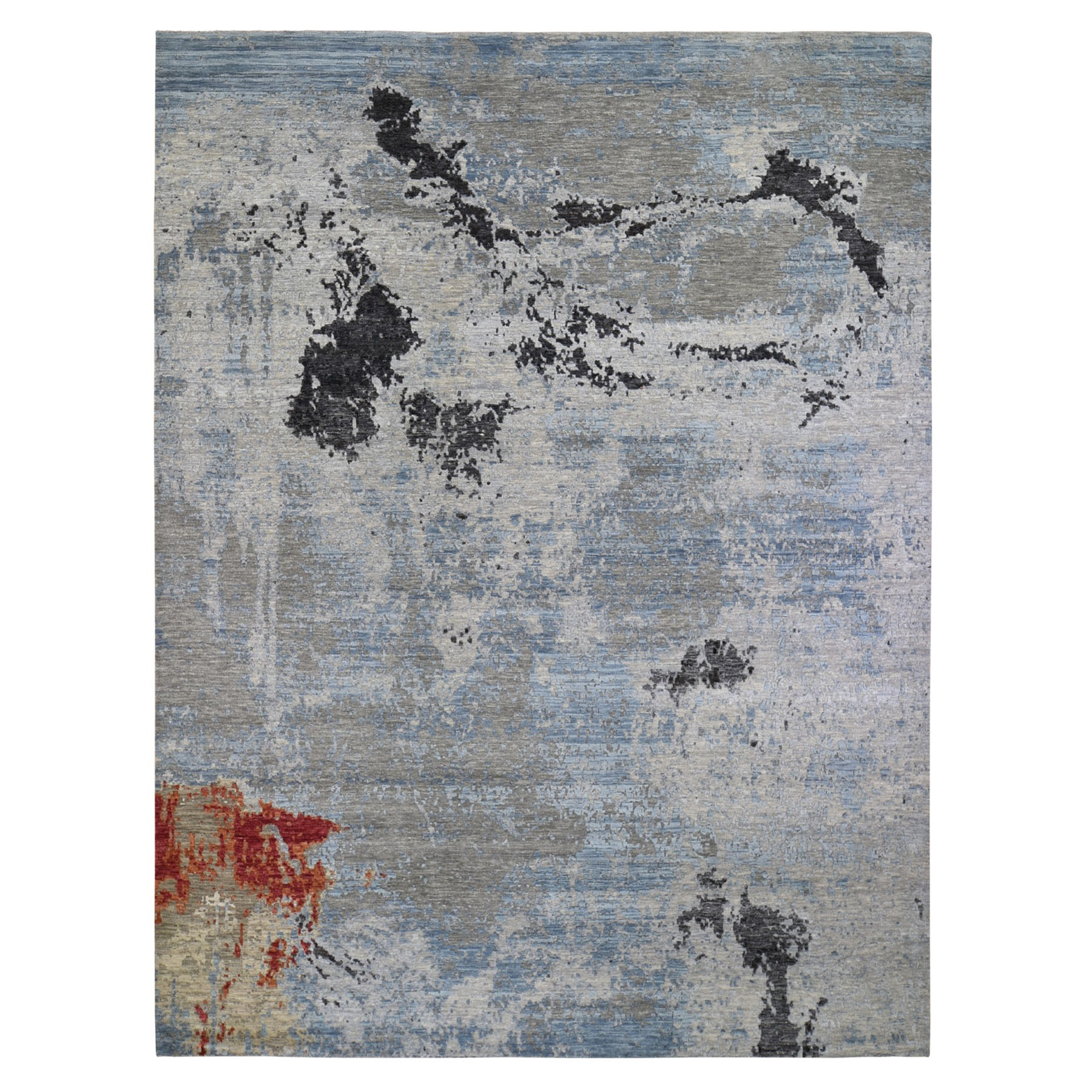 "9'x11'10"" Hi-Low Pile Abstract Design Wool And Silk Hand Woven Oriental Rug"