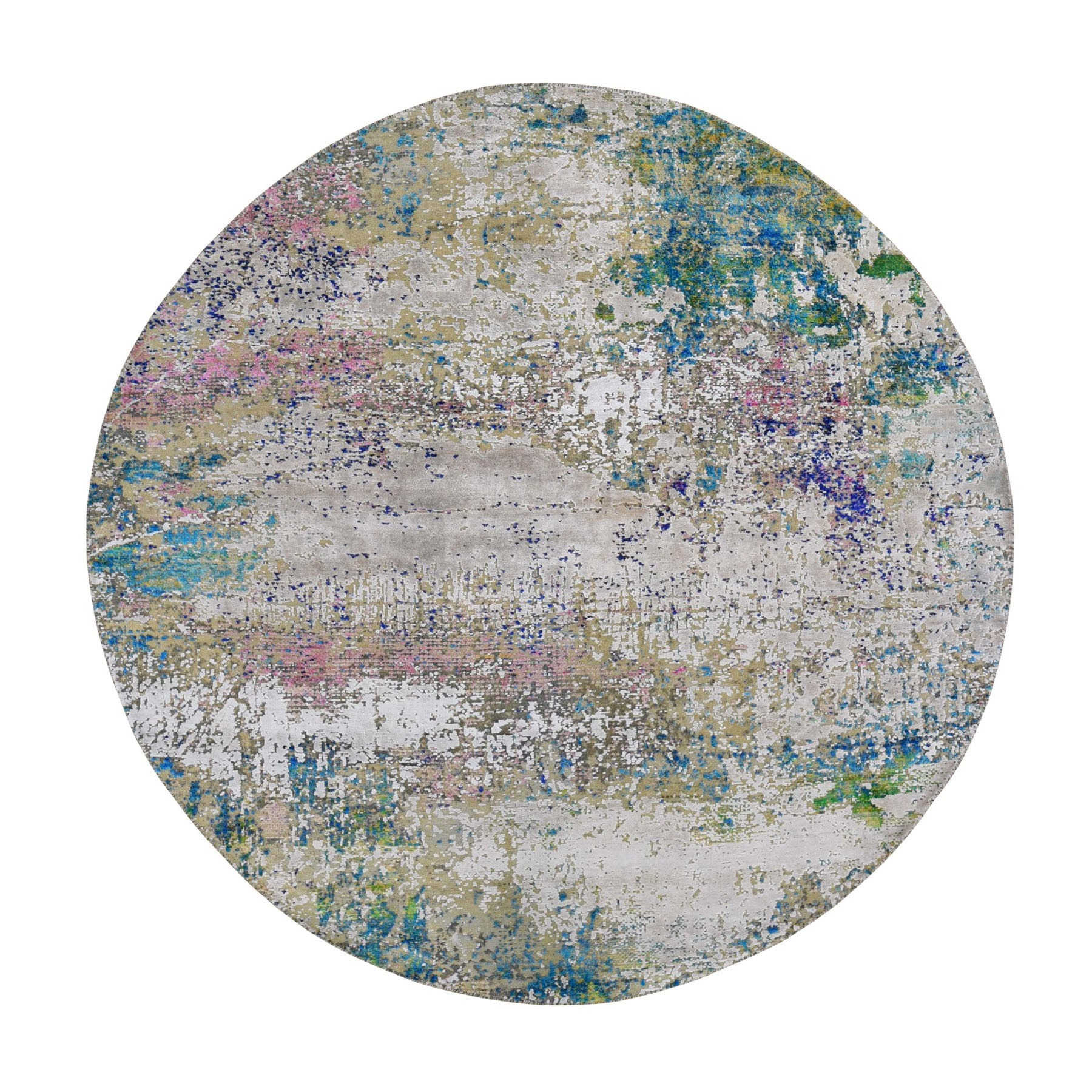 8'x8' Round Abstract Design Wool And Sari Silk Hand Woven Oriental Rug