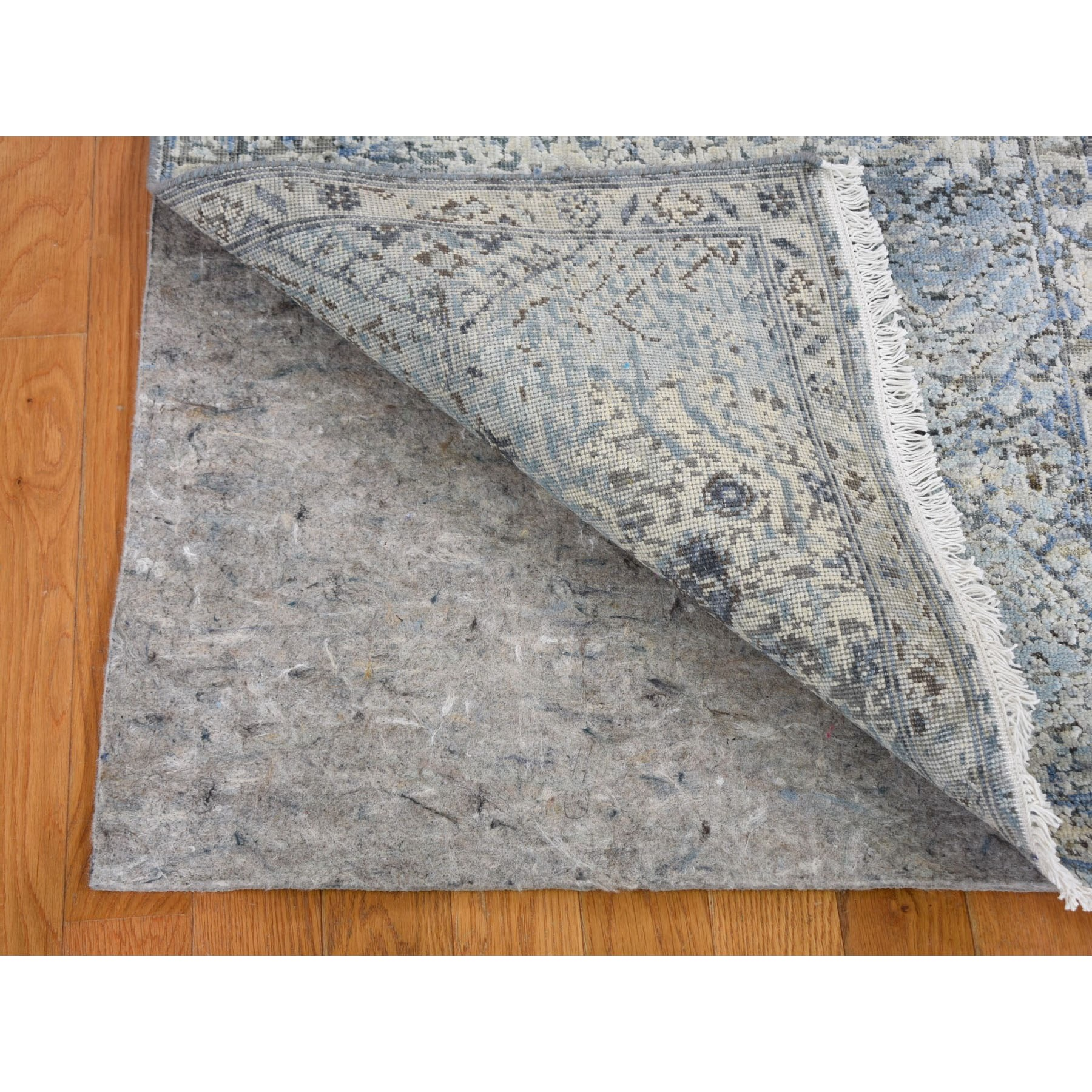 "2'6""x8'1"" Distressed Oushak Pure Silk with Textured Wool Runner Hand Woven Oriental Rug"