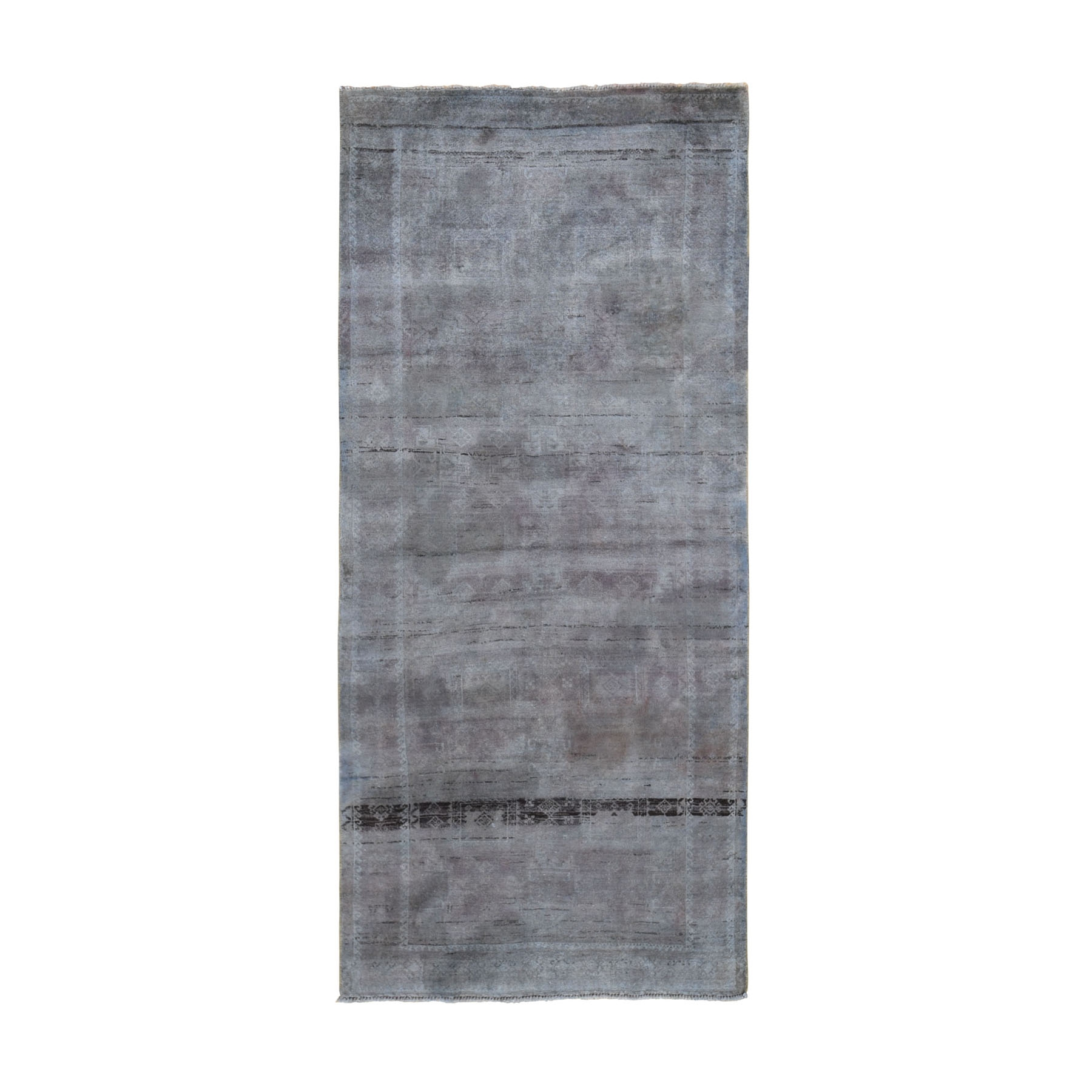 "3'8""x4'8"" Vintage Distressed Colors With Abrash Turkoman Wide Runner Hand Woven Oriental Rug"