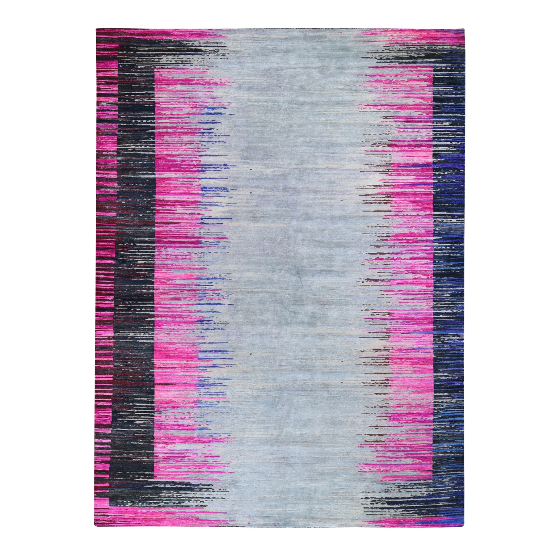 9'x12' Erased Horizontal Line Design ,Pink Sari Silk With Textured Wool Oriental Rug