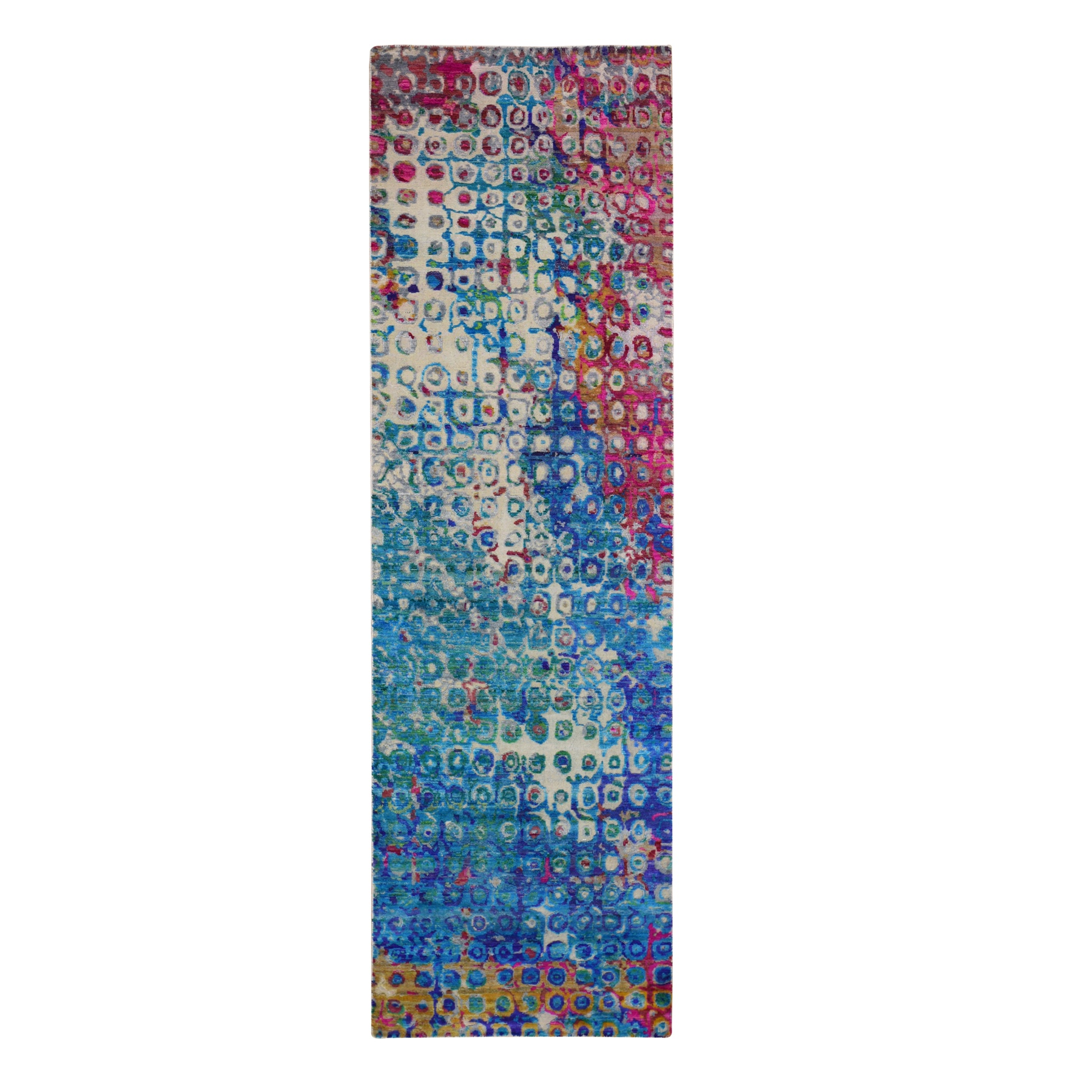 "3'x10'1"" THE PEACOCK, Sari Silk Colorful Runner Hand Woven Oriental Rug"