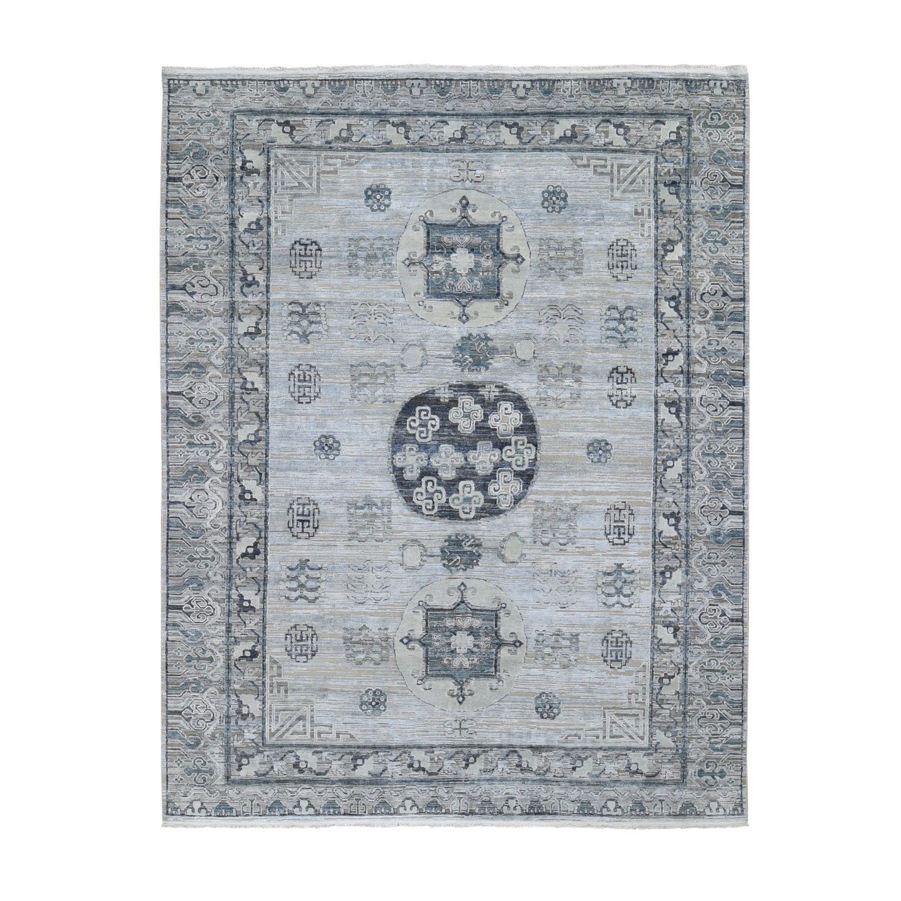 "7'9""x9'10"" Pure Silk With Textured Wool Khotan Design Hand Woven Oriental Rug"