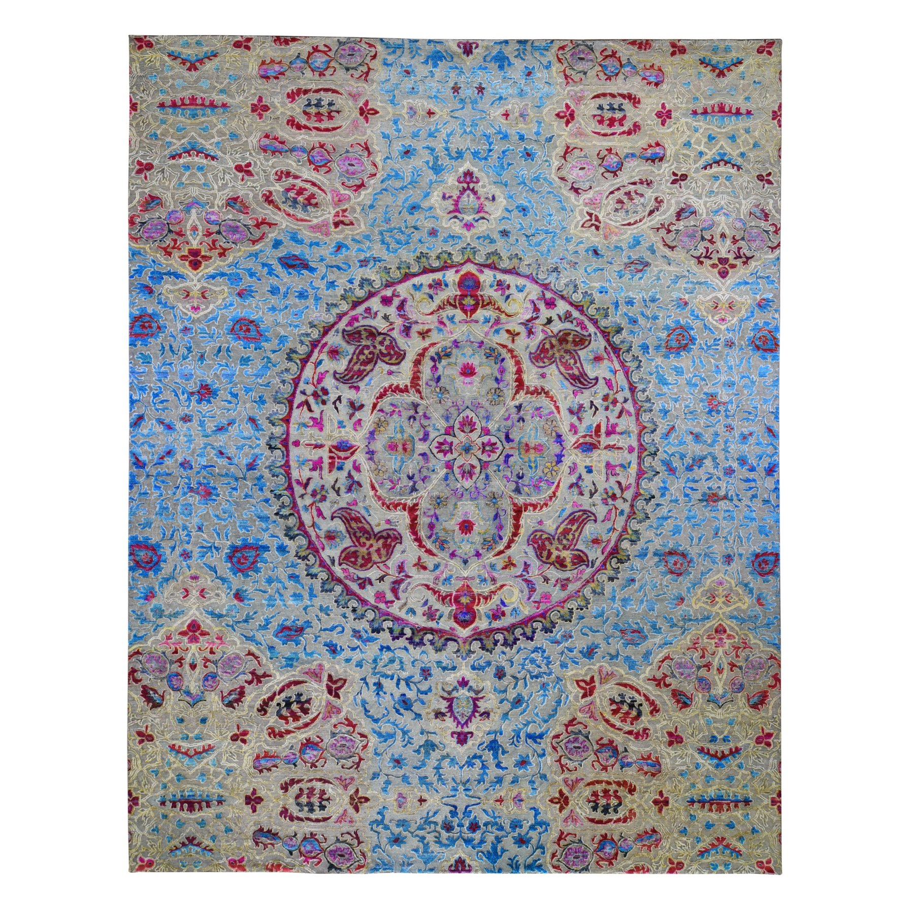 "11'10""x15' Oversized Sari Silk And Textured Wool Colorful Maharaja Hand Woven Oriental Rug"