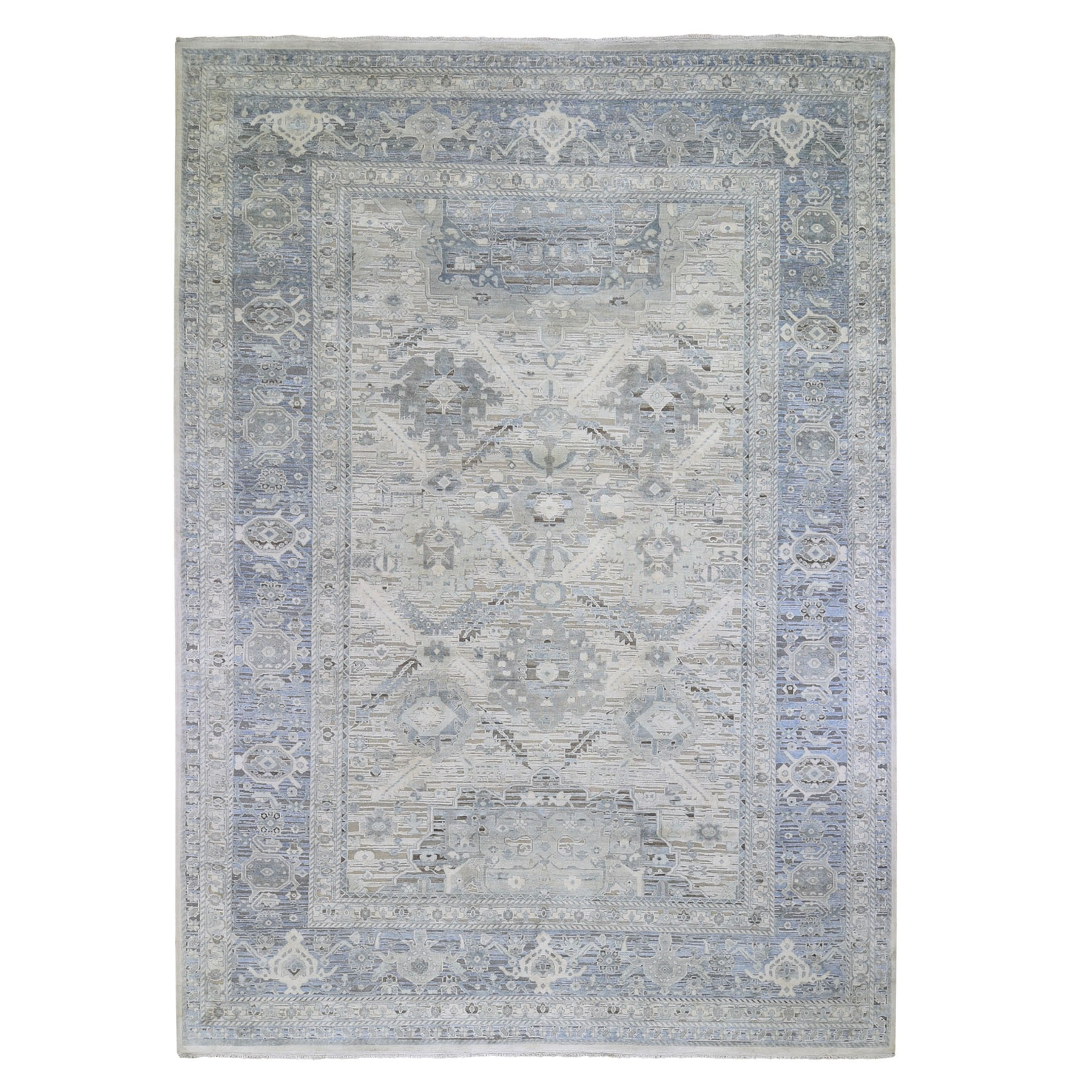 "10'x14'1"" Hand Woven Pure Silk And Textured Wool Oushak With Geometric Motif Oriental Rug"