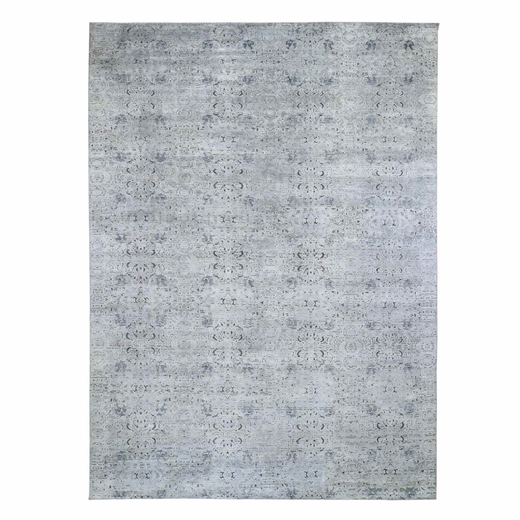"8'10""x12'1"" Pure Silk With Textured Wool Tone on Tone Hand Woven Oriental Rug"