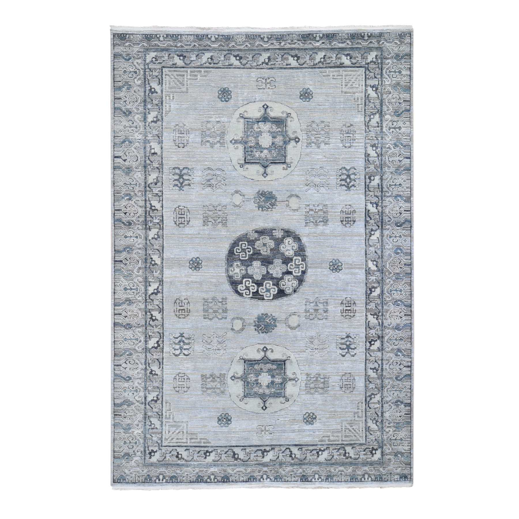 "6'1""x9'2"" Pure Silk With Textured Wool Khotan Design Hand Woven Oriental Rug"