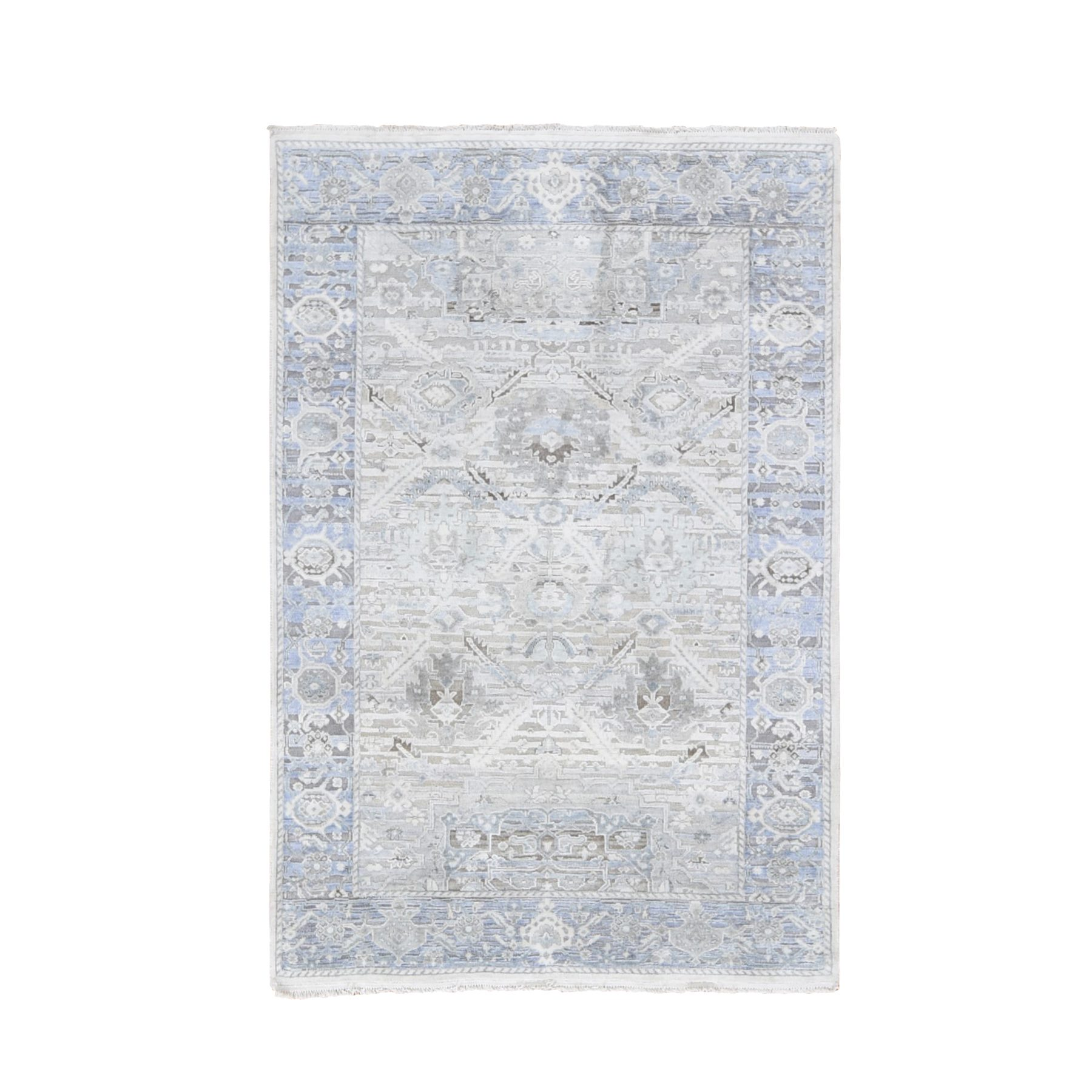 "4'x6'2"" Hand Woven Pure Silk And Textured Wool Oushak With Geometric Motif Oriental Rug"