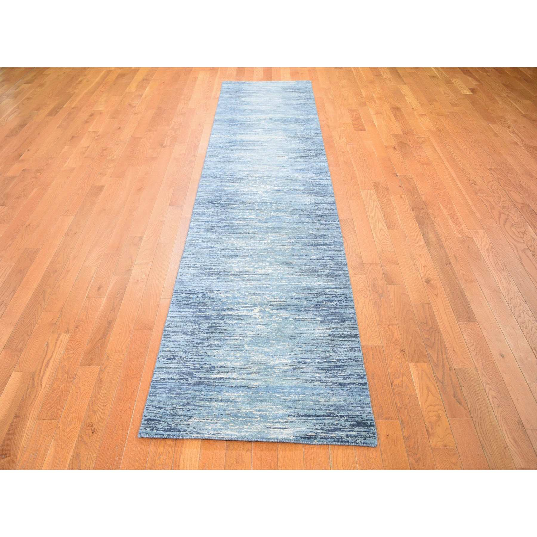 "2'6""x12'2"" Blue Broken Lines Design Pure Wool Runner Hand Woven Oriental Rug"