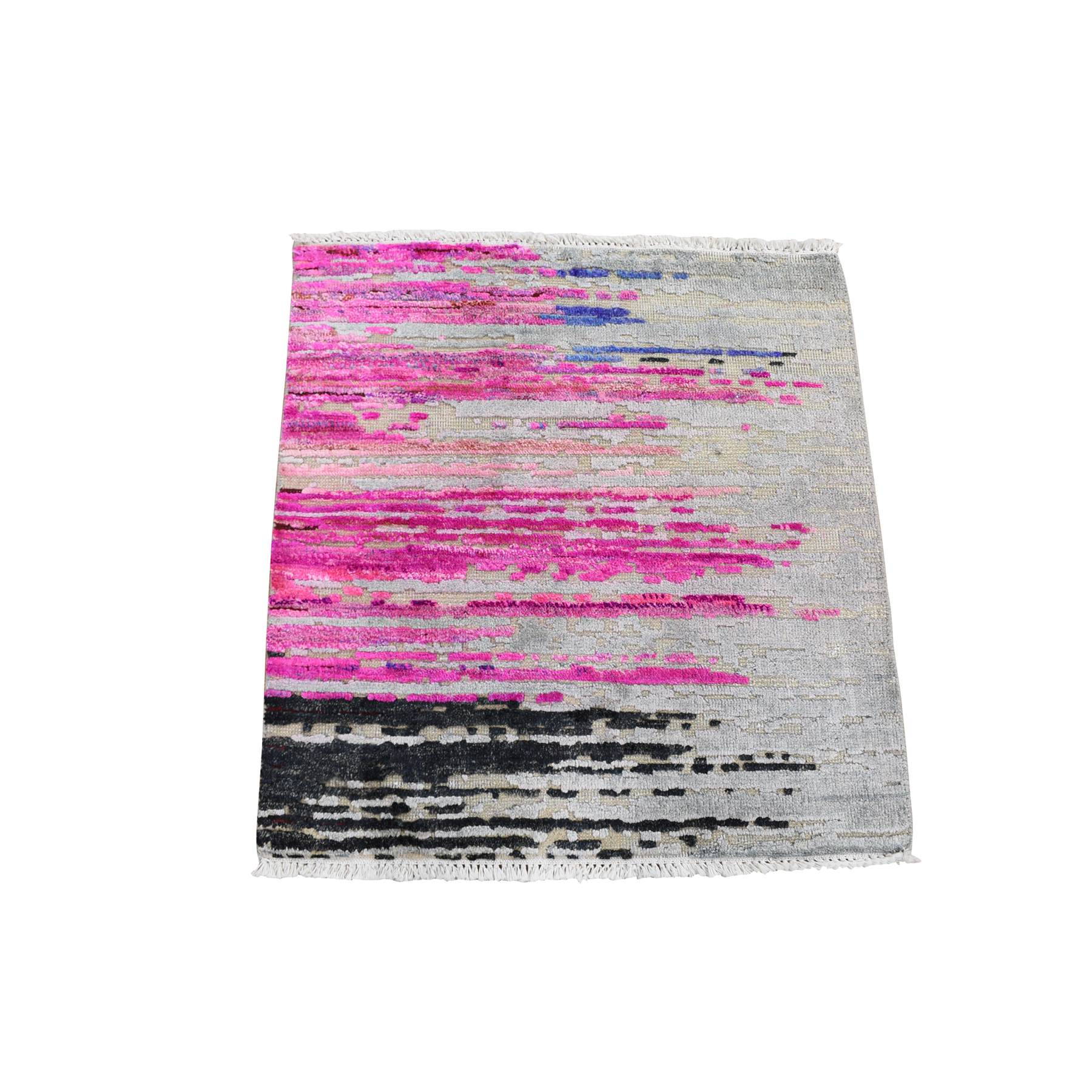 2'x2' Erased Horizontal Line Design ,Pink Sari Silk With Textured Wool Oriental Rug