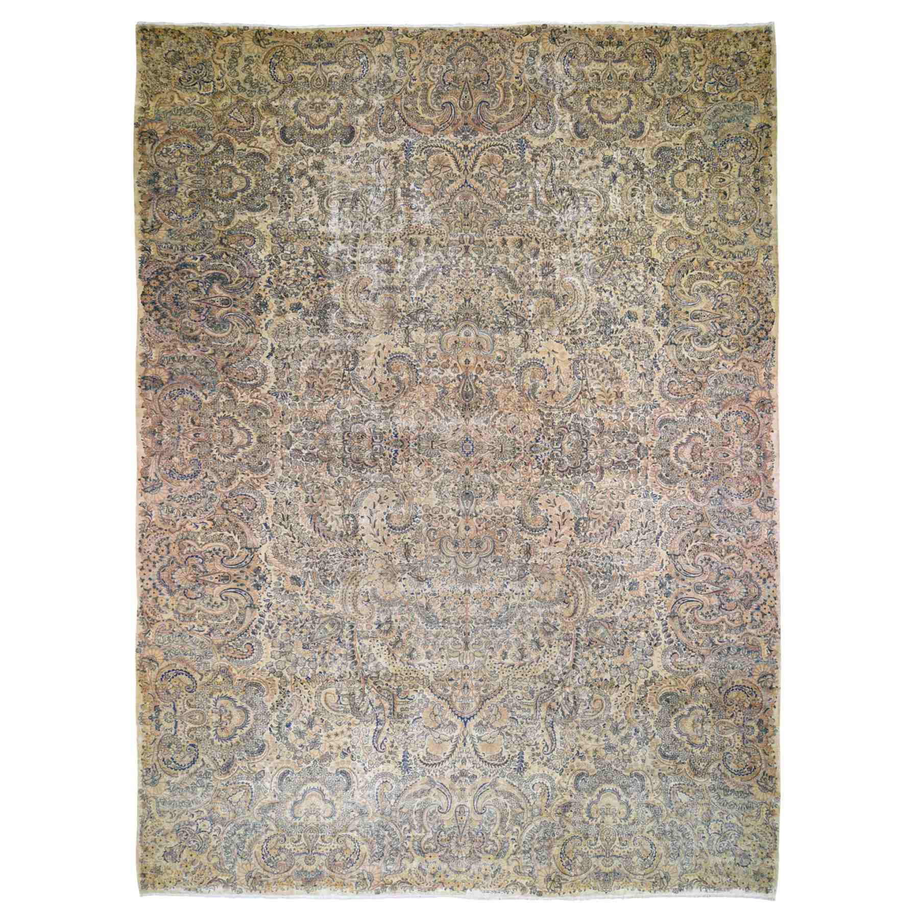 "11'5""x17'8"" Oversized Antique Persian Kerman, Soft Colors, Even Wear Hand Woven Oriental Rug"
