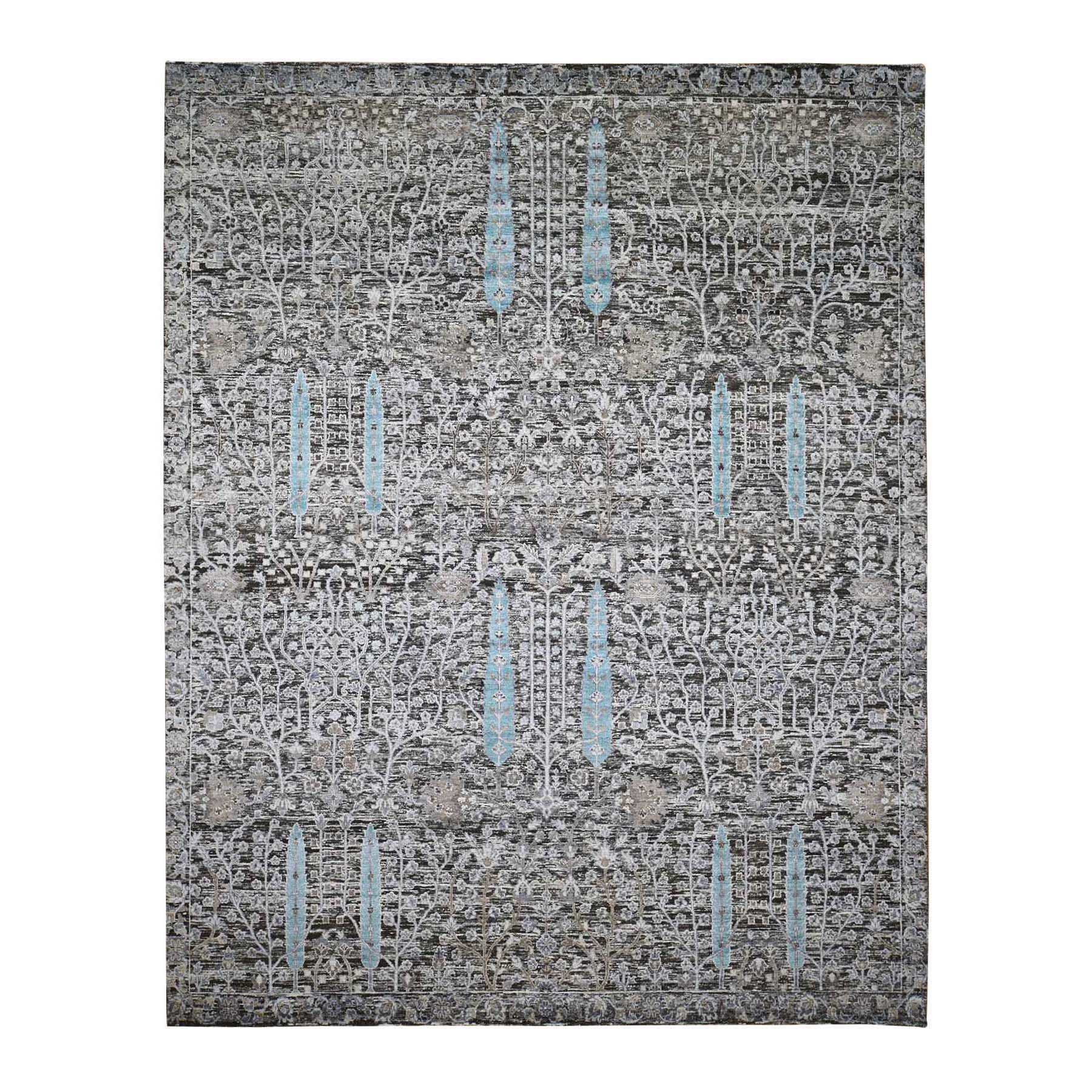 "8'x9'10"" Cypress Tree Design Silk With Textured Wool Hand Woven Rug"