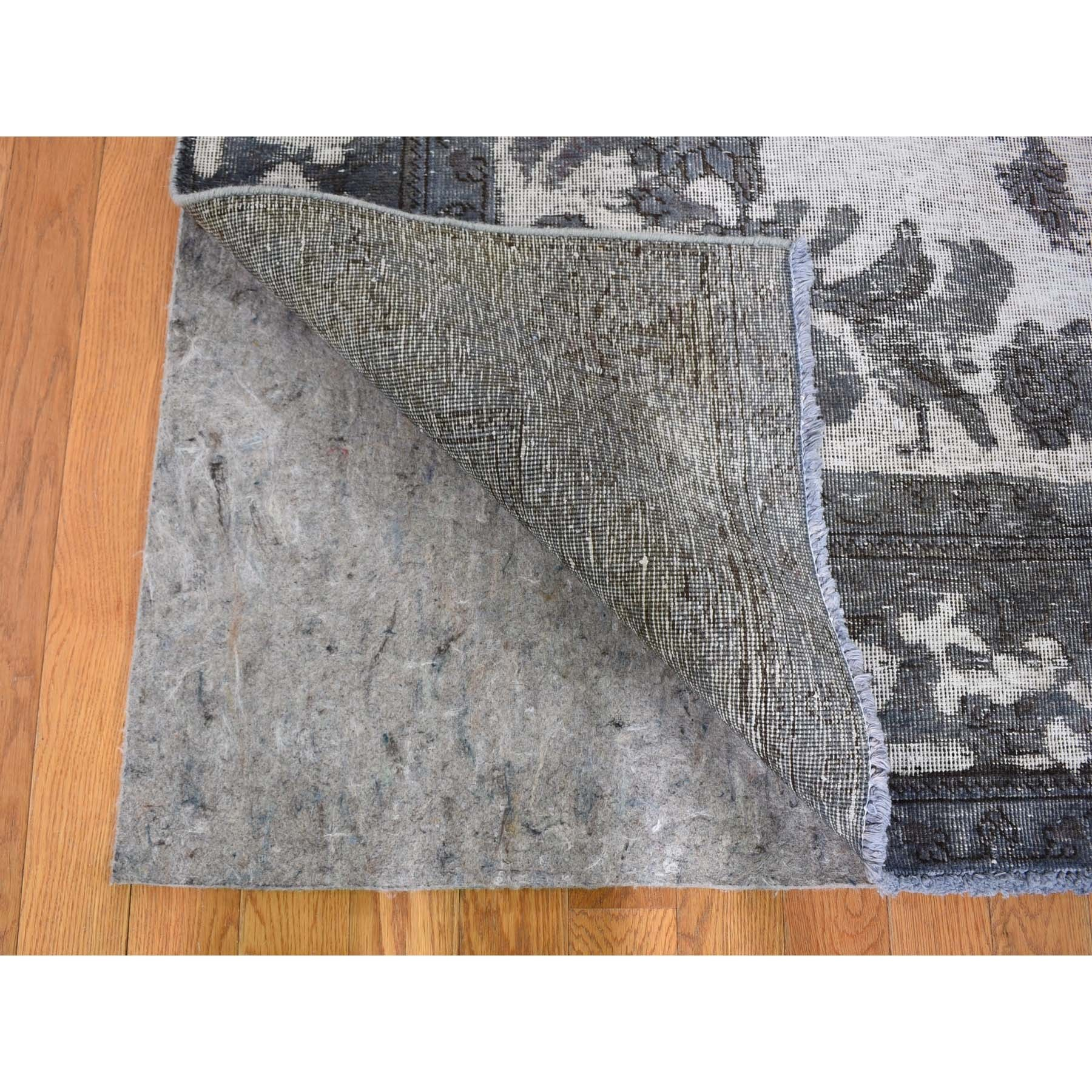 "6'1""x9'2"" Overdyed Silver Persian Tabriz Barjasta Hand Woven Vintage Rug"