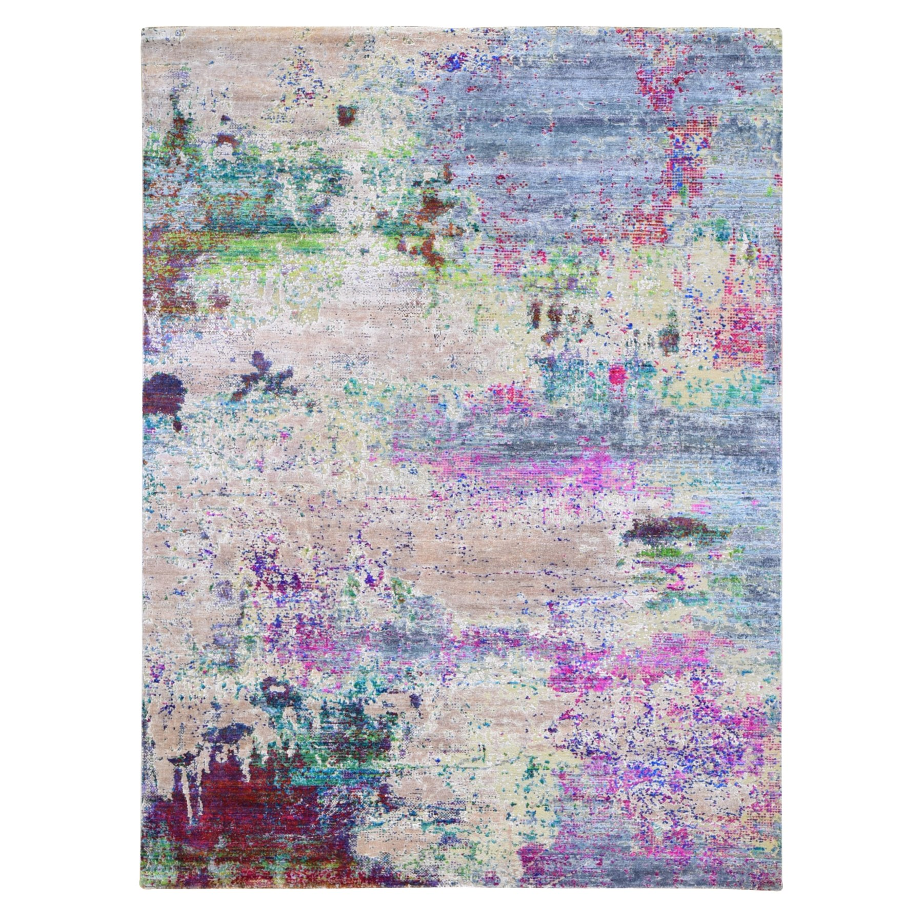 9'x12' Sari Silk with Pastel Colors Abstract Design Hand Woven Oriental Rug