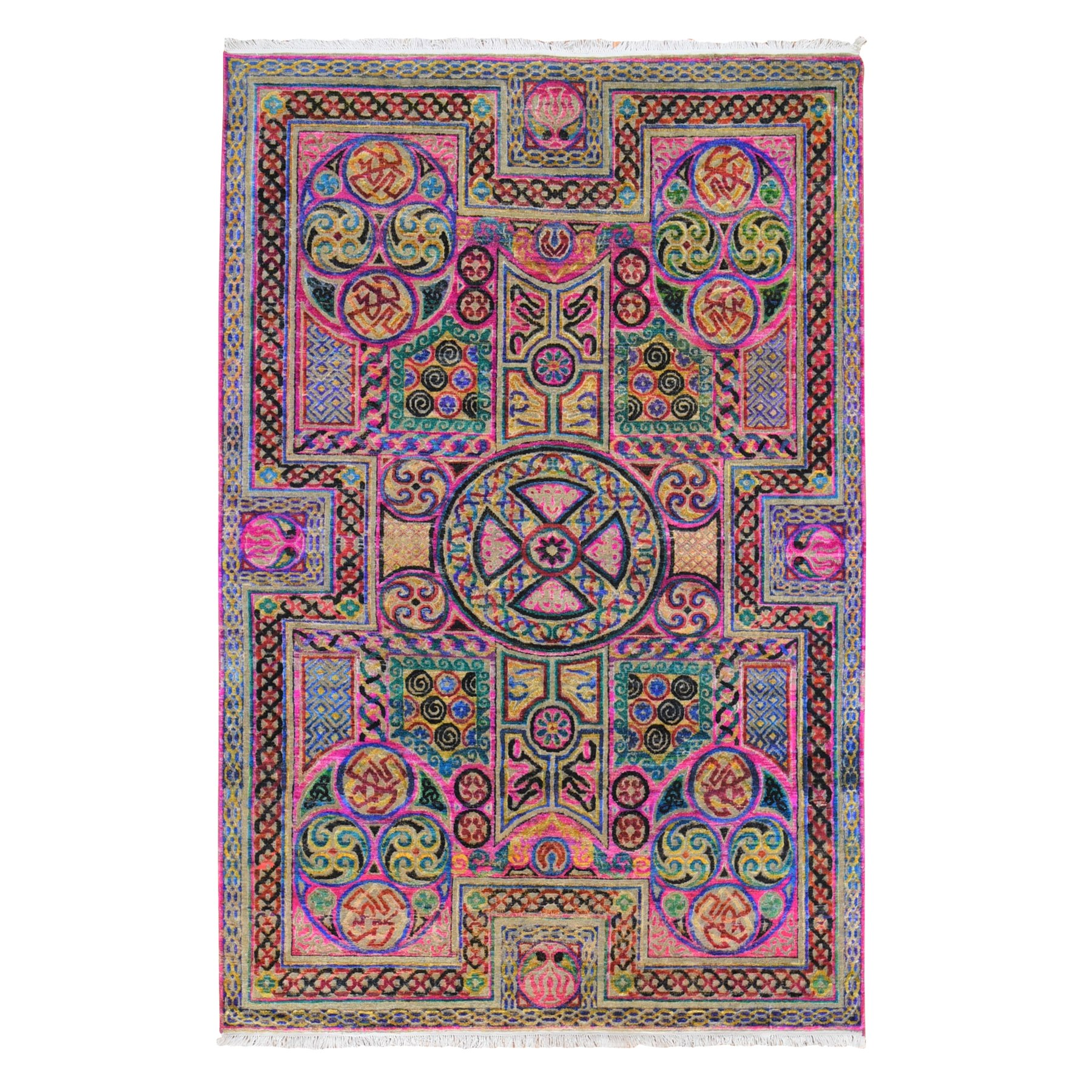 "6'x9'2"" Pink Sari Silk Arts and Crafts Design Hand Woven Colorful Oriental Rug"