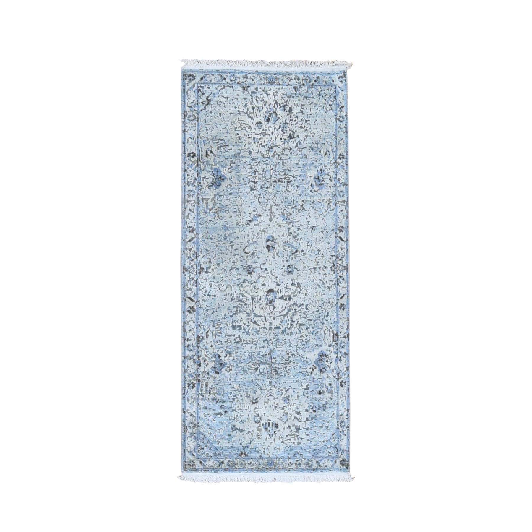 "2'5""x5'10"" Ivory Distressed Oushak Pure Silk with Textured Wool Hand Woven Runner Oriental Rug"
