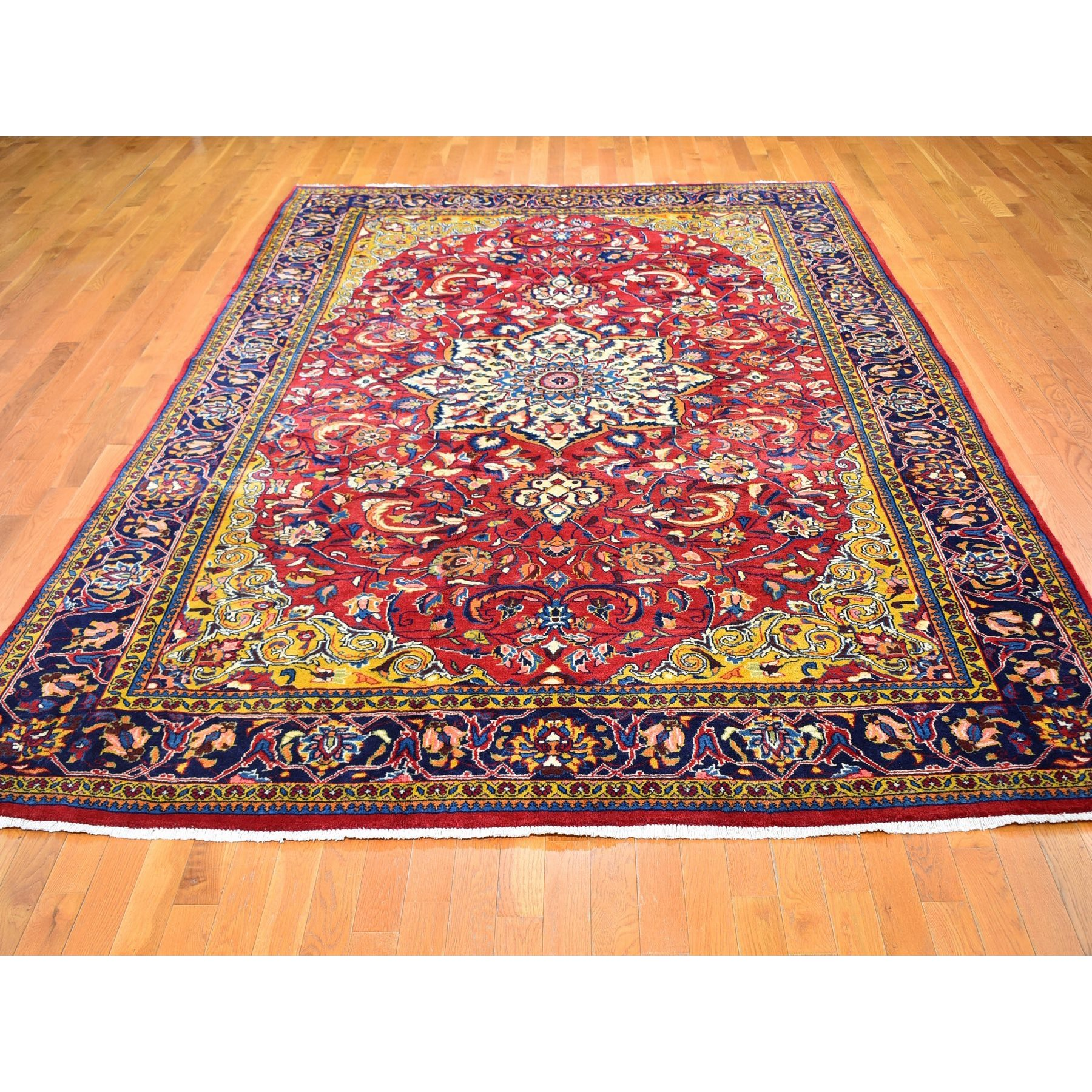 "8'3""x12'7"" Semi Antique Persian Mahal with Yellow Corners Full Pile Excellent Condition Pure Wool Hand Woven Oriental Rug"