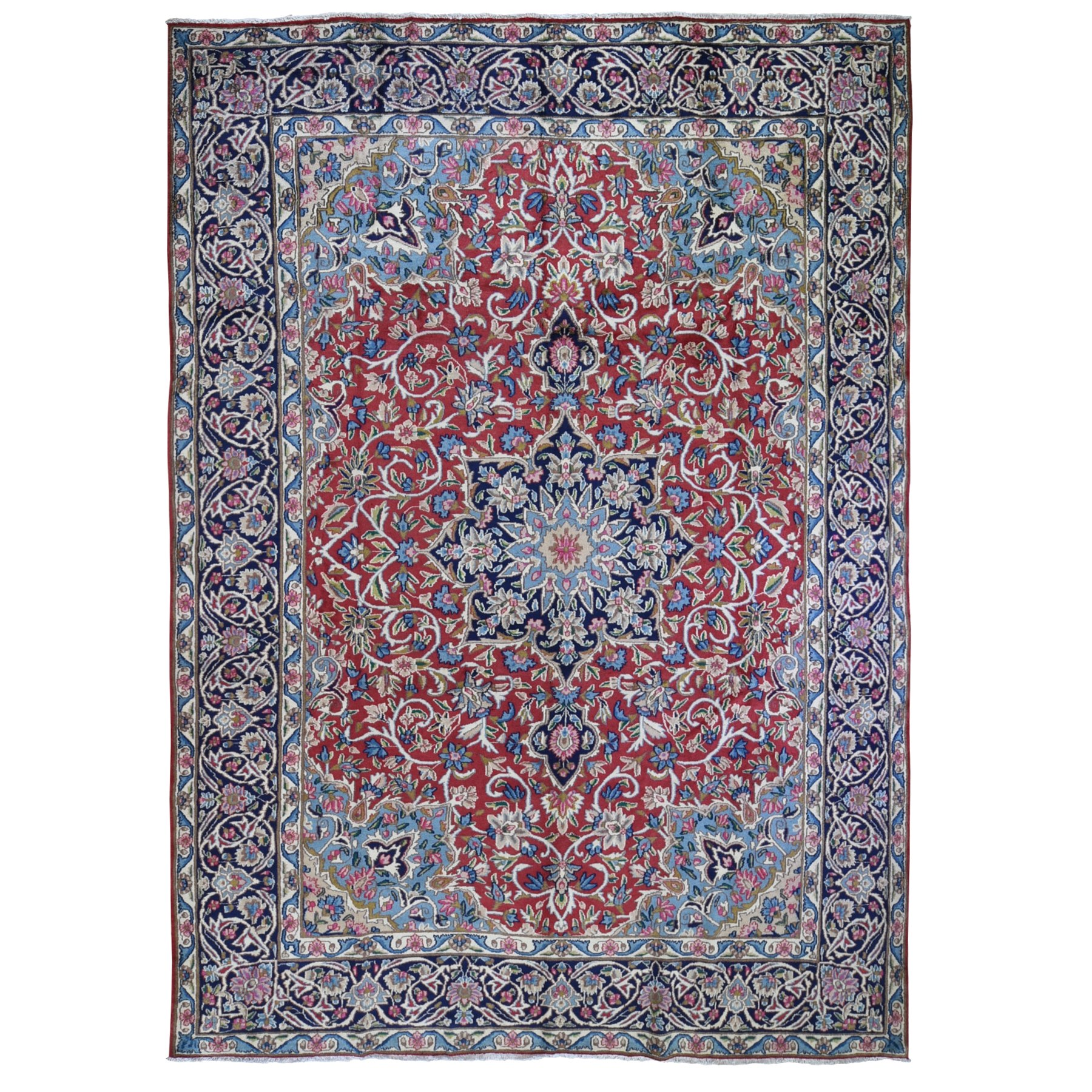 "8'7""x12'2"" Semi Antique Persian Kerman Medallion Pure Wool Full Pile Excellent Condition Hand Woven Oriental Rug"
