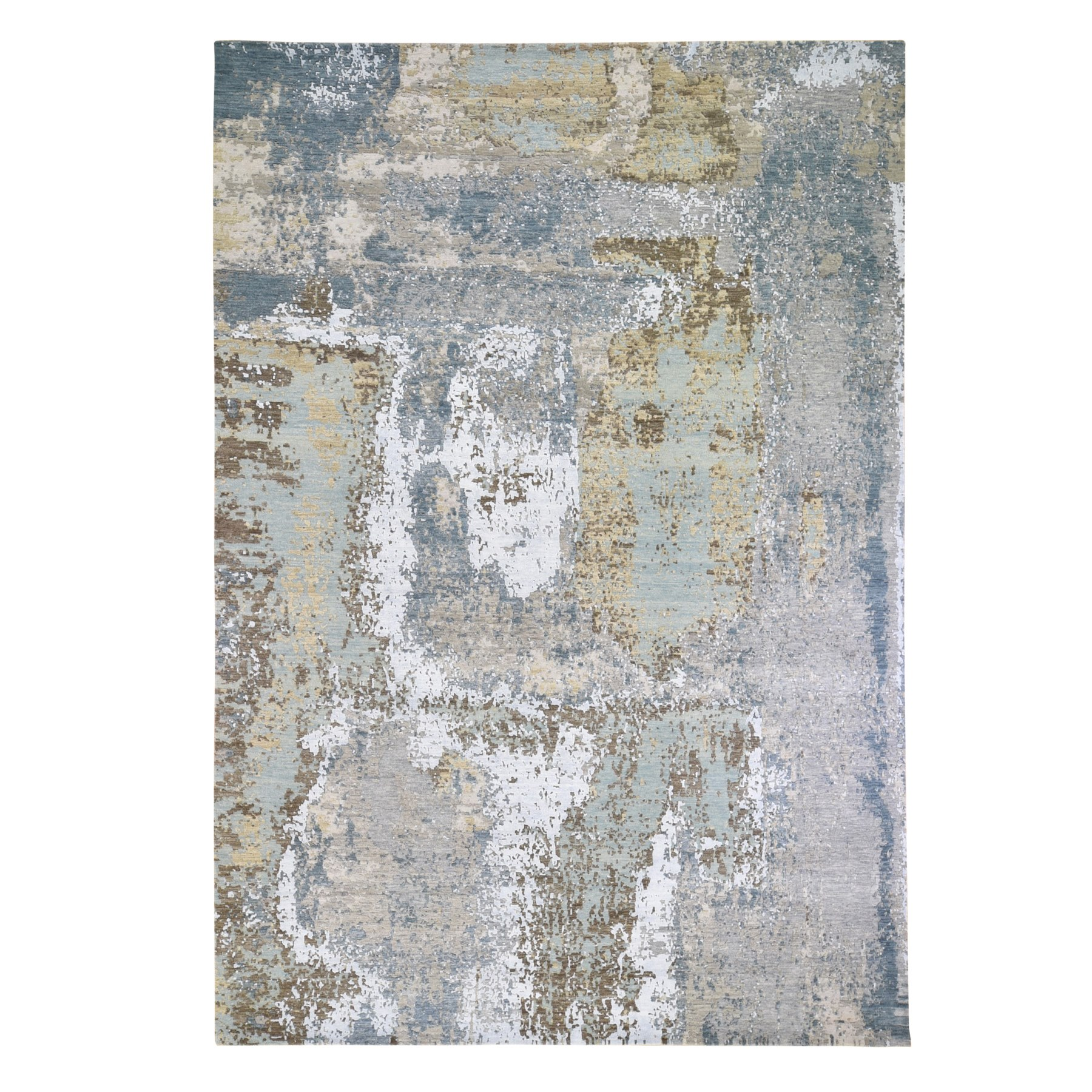 "8'10""x12'2"" Gray Abstract Design Wool and Silk Denser Weave Hi-Low Pile Hand Woven Oriental Rug"