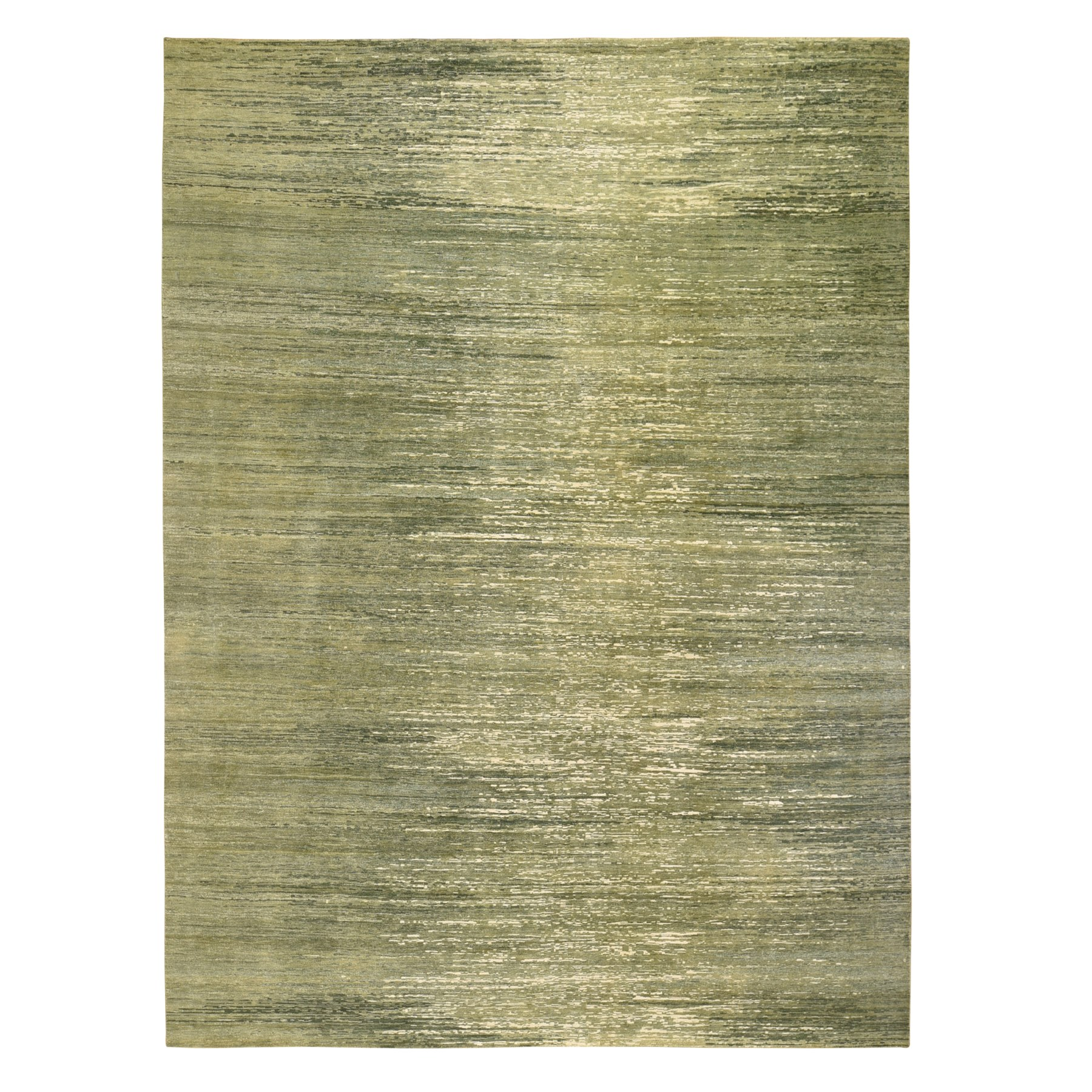 8'x11' Moss Green Color Shades Paint Strike Design Sheared Low Pure Wool Hand Woven Oriental Rug