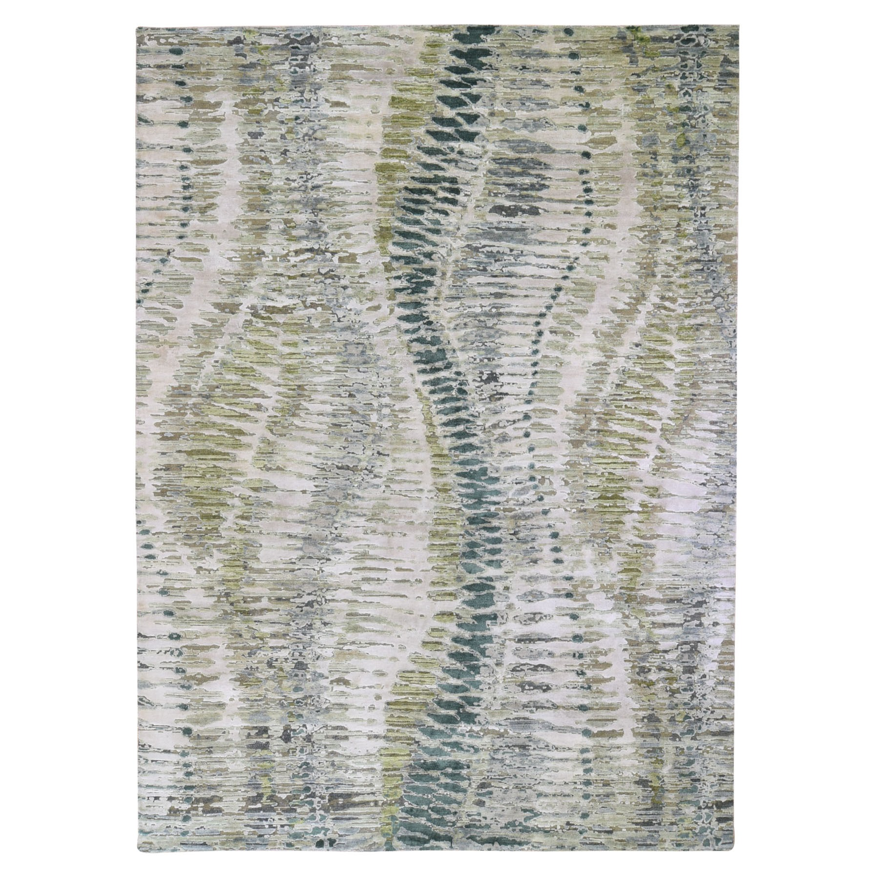 9'x12' Green Safari Tree Crocodile Design Pure Silk with Textured Wool Hand Woven Oriental Rug