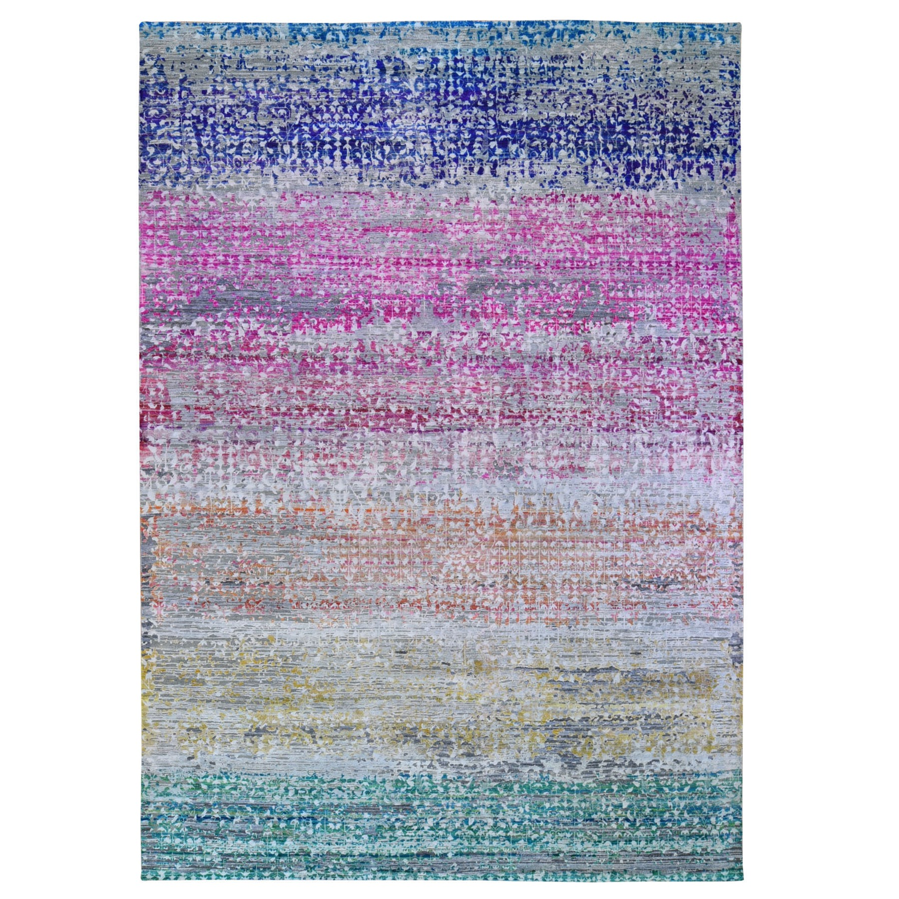 "8'10""x12'2"" Pink and More Sari Silk with Textured Wool Spectrum Design Modern Hand Woven Oriental Rug"
