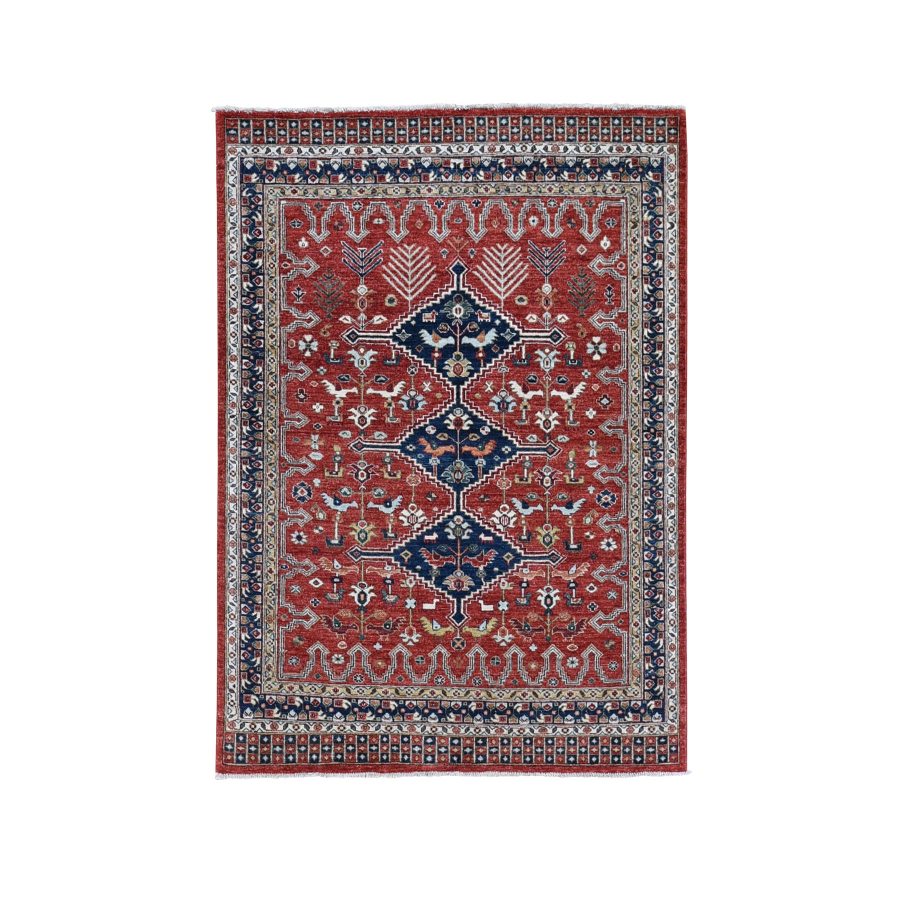 "4'10""x6'6"" Peshawar with Shiraz Design Tomato Red, Birds Pure Wool Hand Woven Oriental Rug"
