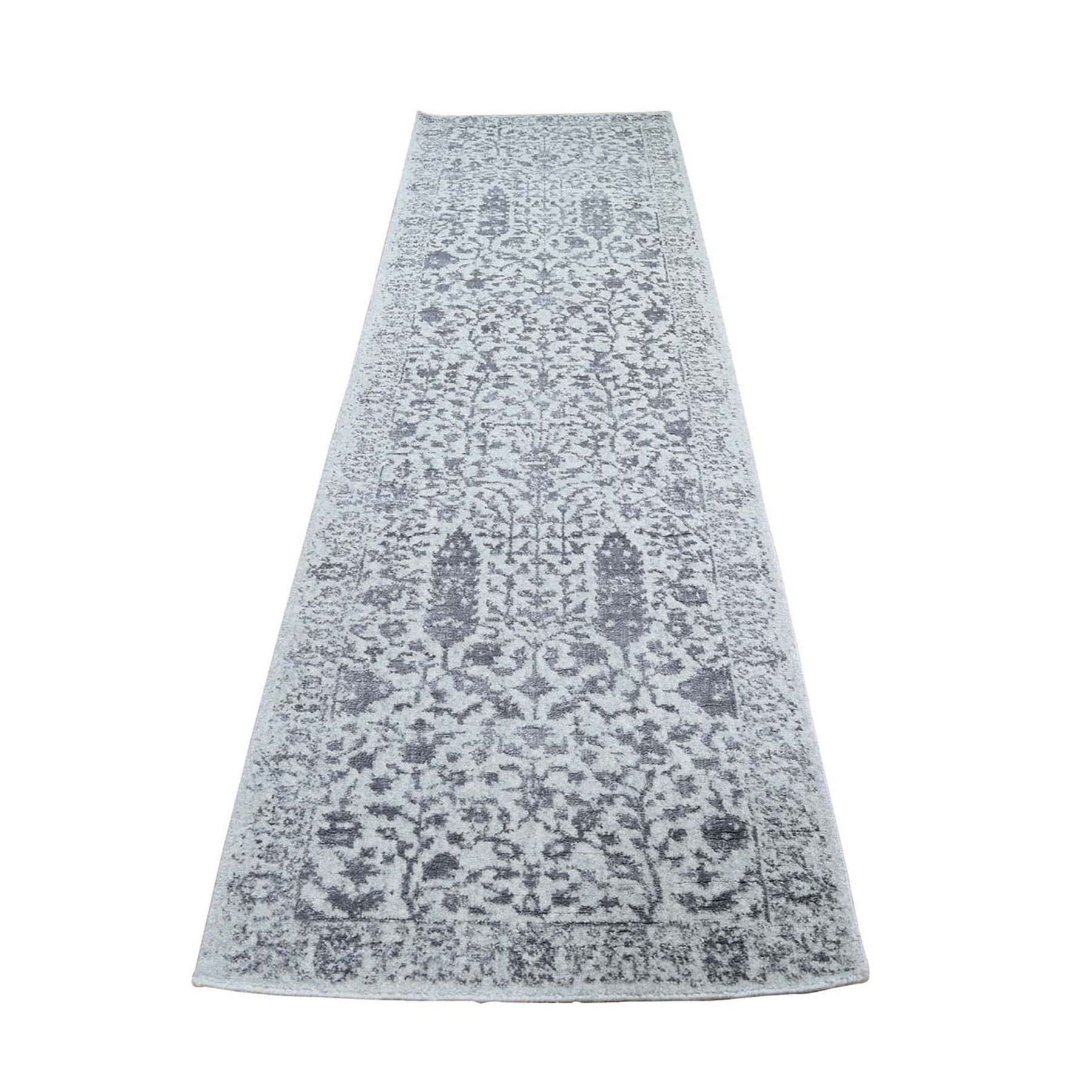 "2'5""x8' Gray Jacquard Hand Loomed Broken Cypress Tree Design Silken Thick and Plush Runner Oriental Rug"