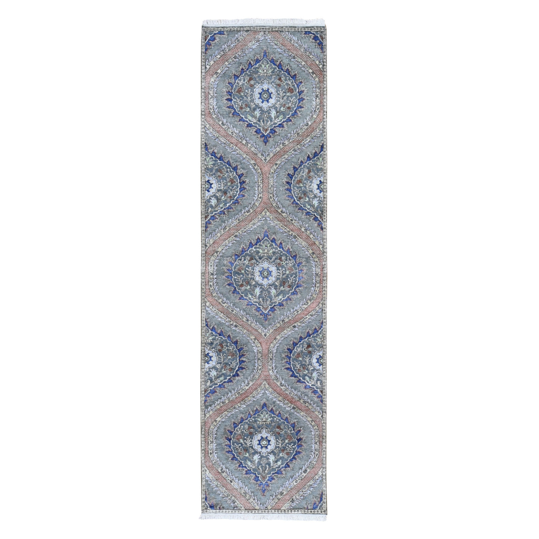"2'6""x10' Gray Real Silk with Textured Wool Mughal Design Hand Woven Runner Oriental Rug"