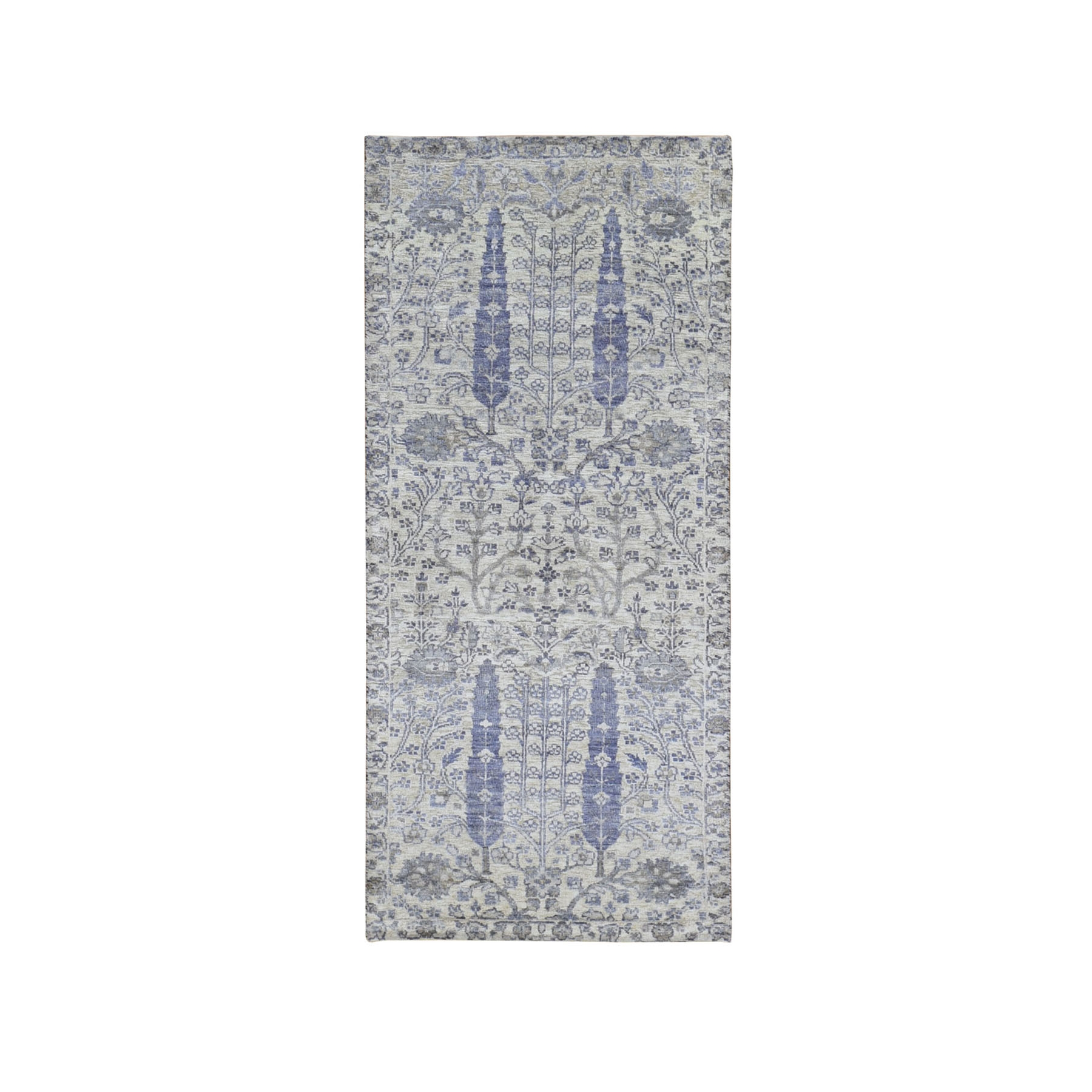 "2'8""x6'2"" Ivory Willow and Cypress Tree Design Silk with Textured Wool Hand Woven Wide Runner Oriental Rug"