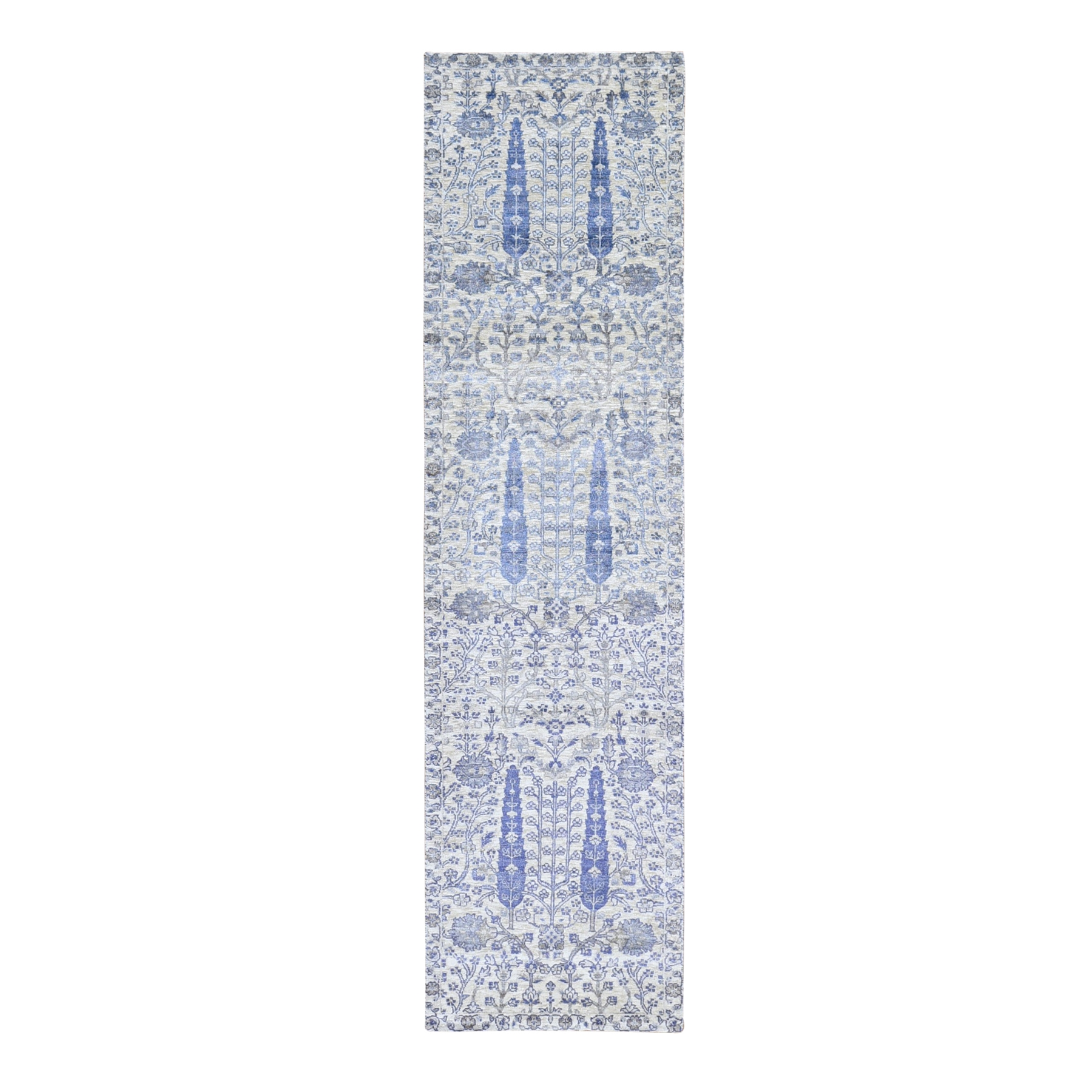 "2'7""x10'1"" Ivory Willow and Cypress Tree Design Silk with Textured Wool Hand Woven Runner Oriental Rug"