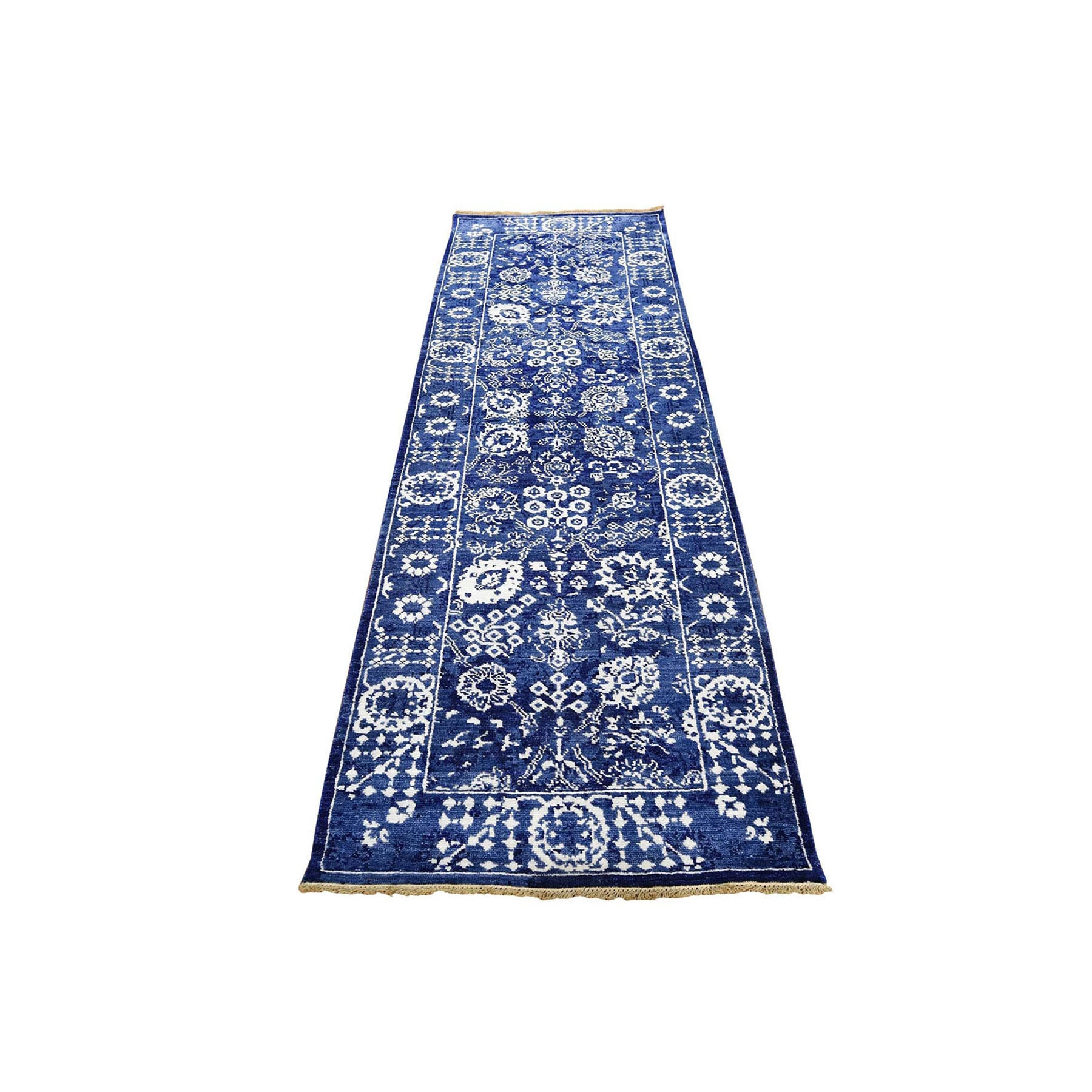 "2'8""x8'2"" Blue Wool and Silk Tone On Tone Tabriz Runner Hand Woven Oriental Rug"