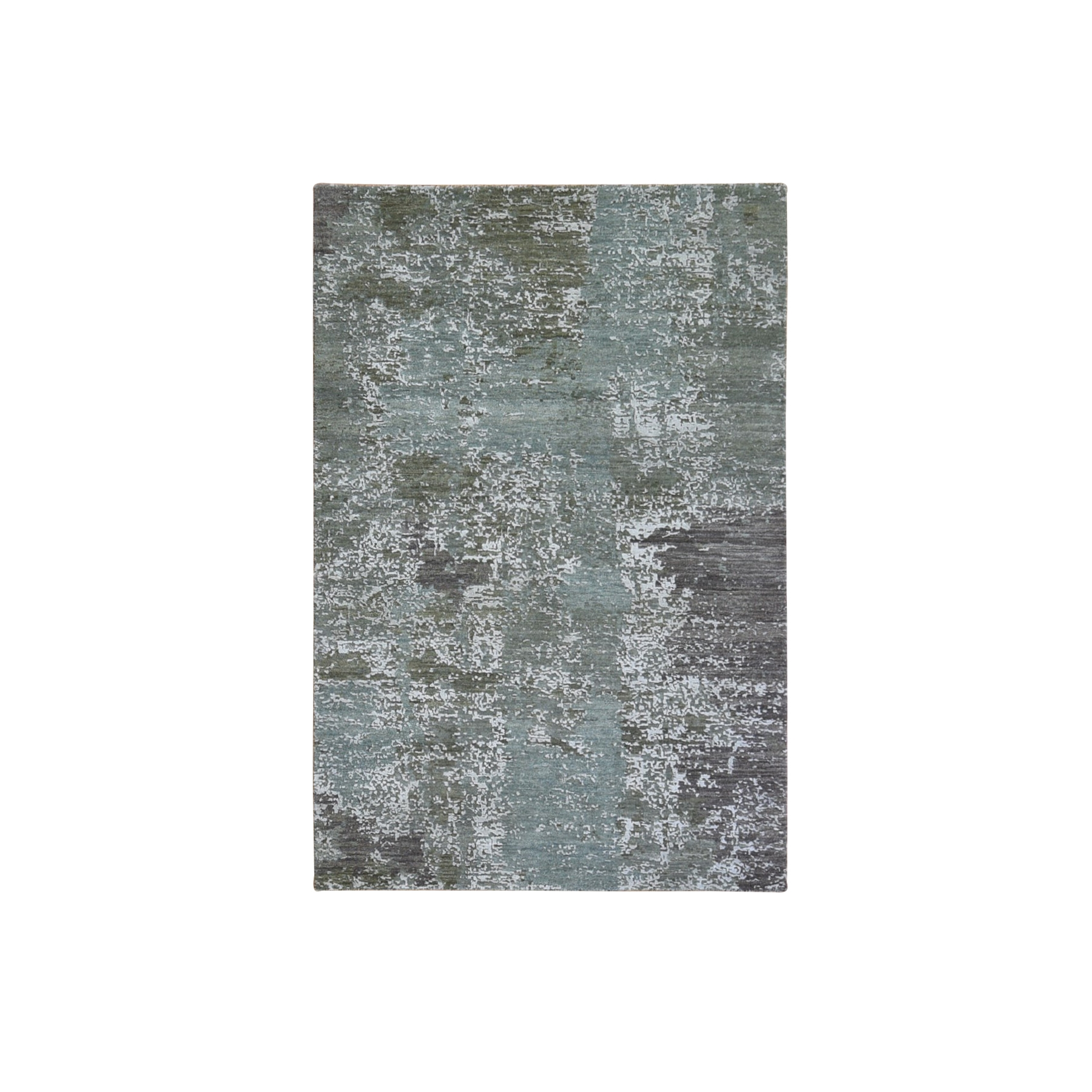 4'x6' Green Abstract Design Wool and Silk Hi-Low Pile Denser Weave Hand Woven Oriental Rug