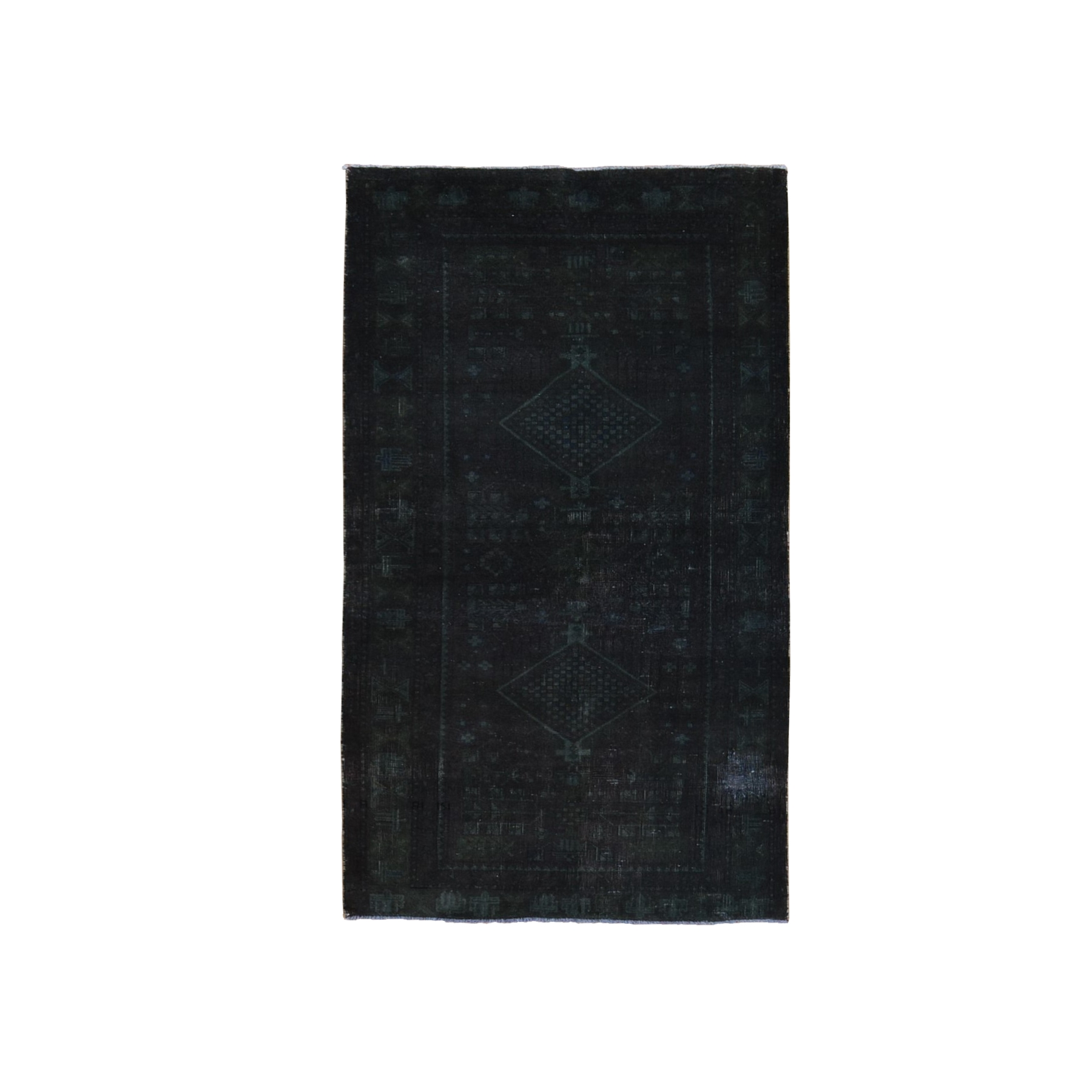 "3'6""x6'7"" Black-Green Overdyed Persian Shiraz Worn Down Hand Woven Clean Oriental Rug"