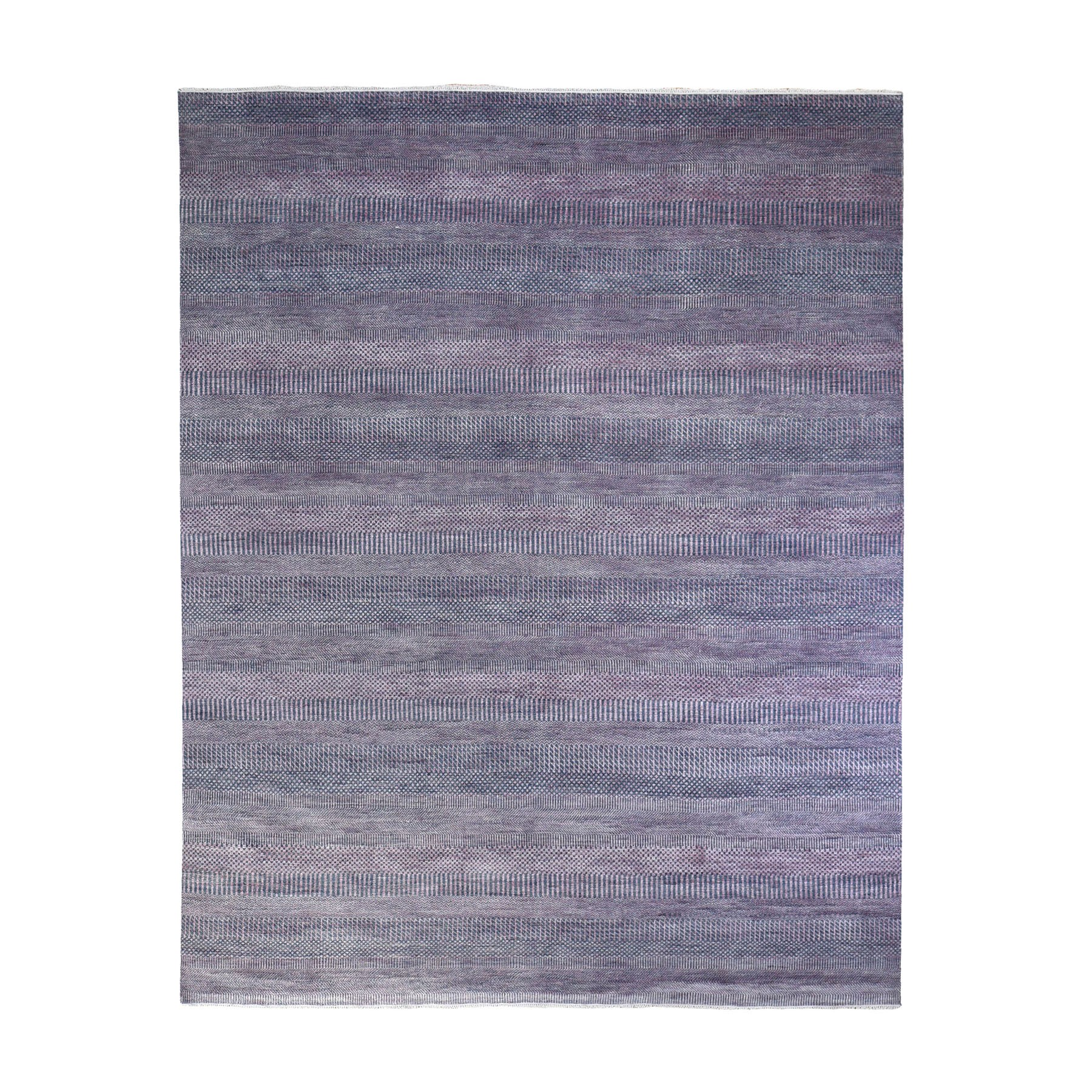 8'x10' Purple with Touches of Pink Grass Design Wool and Silk Hand Woven Oriental Rug
