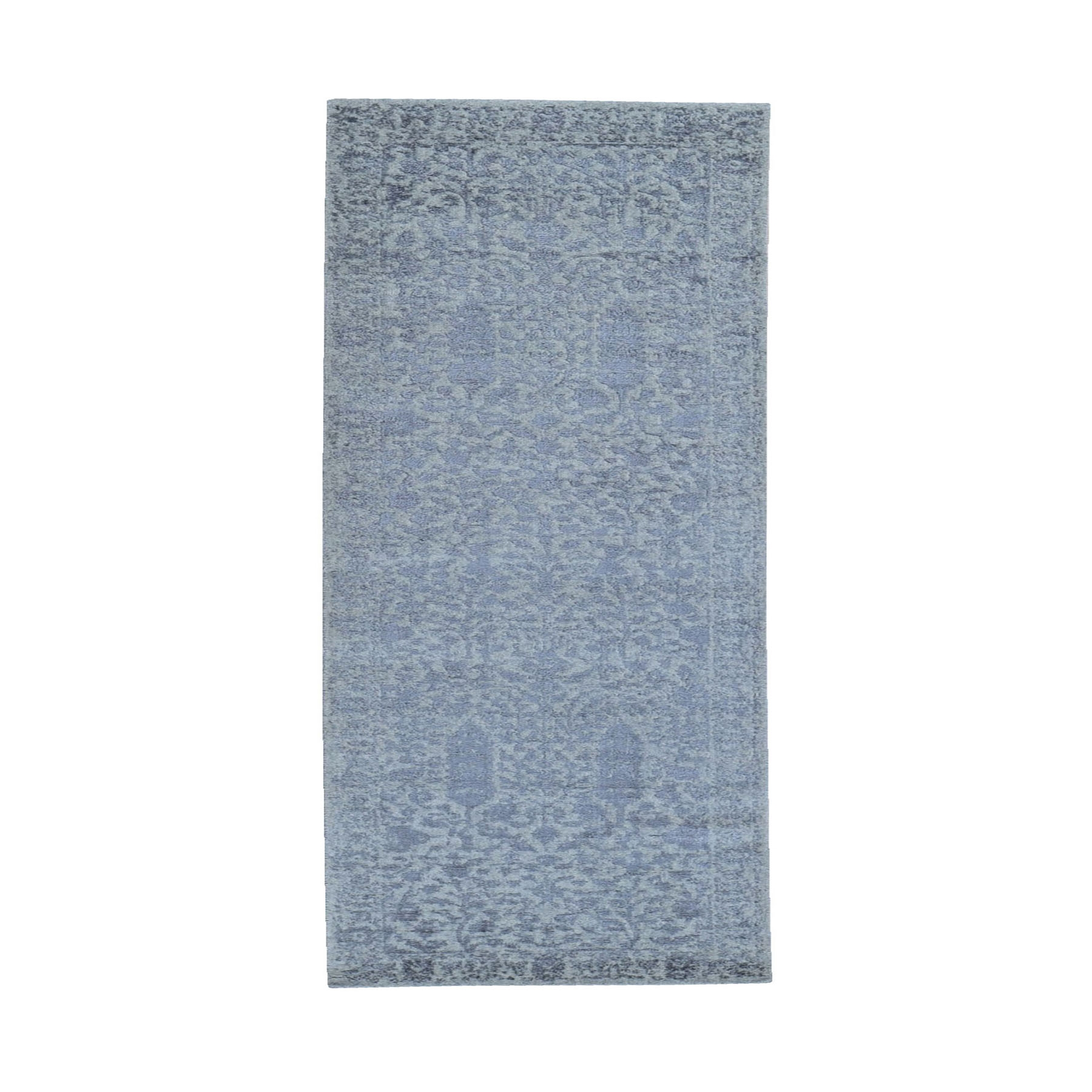 "2'5""x8' Gray Jacquard Hand Loomed Broken Cypress Tree Design Wool and Silk Thick and Plush Runner Oriental Rug"