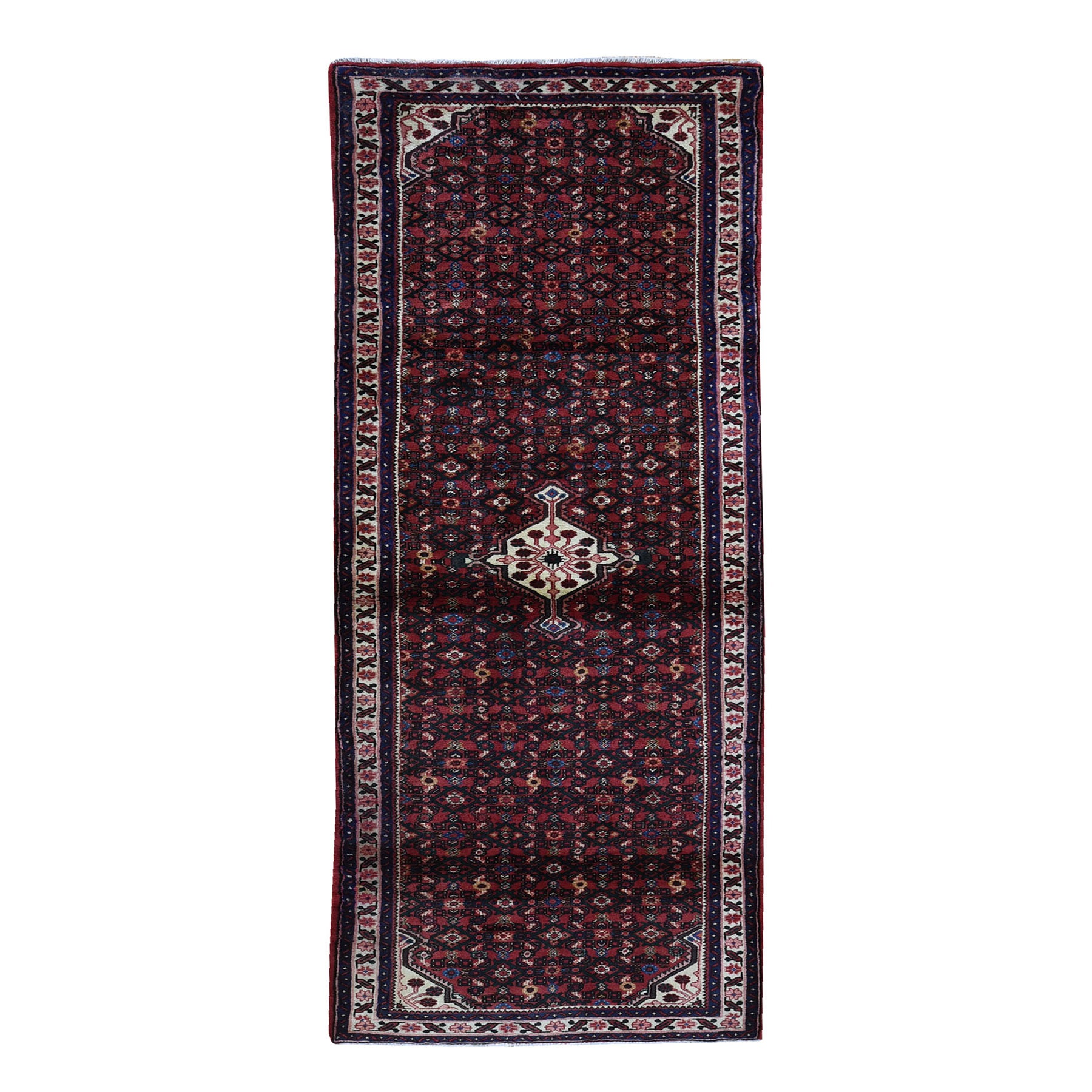 "3'5""x10'4"" New Persian Hamadan Mahi Fish Design Wide Runner Pure Wool Hand Woven Oriental Rug"