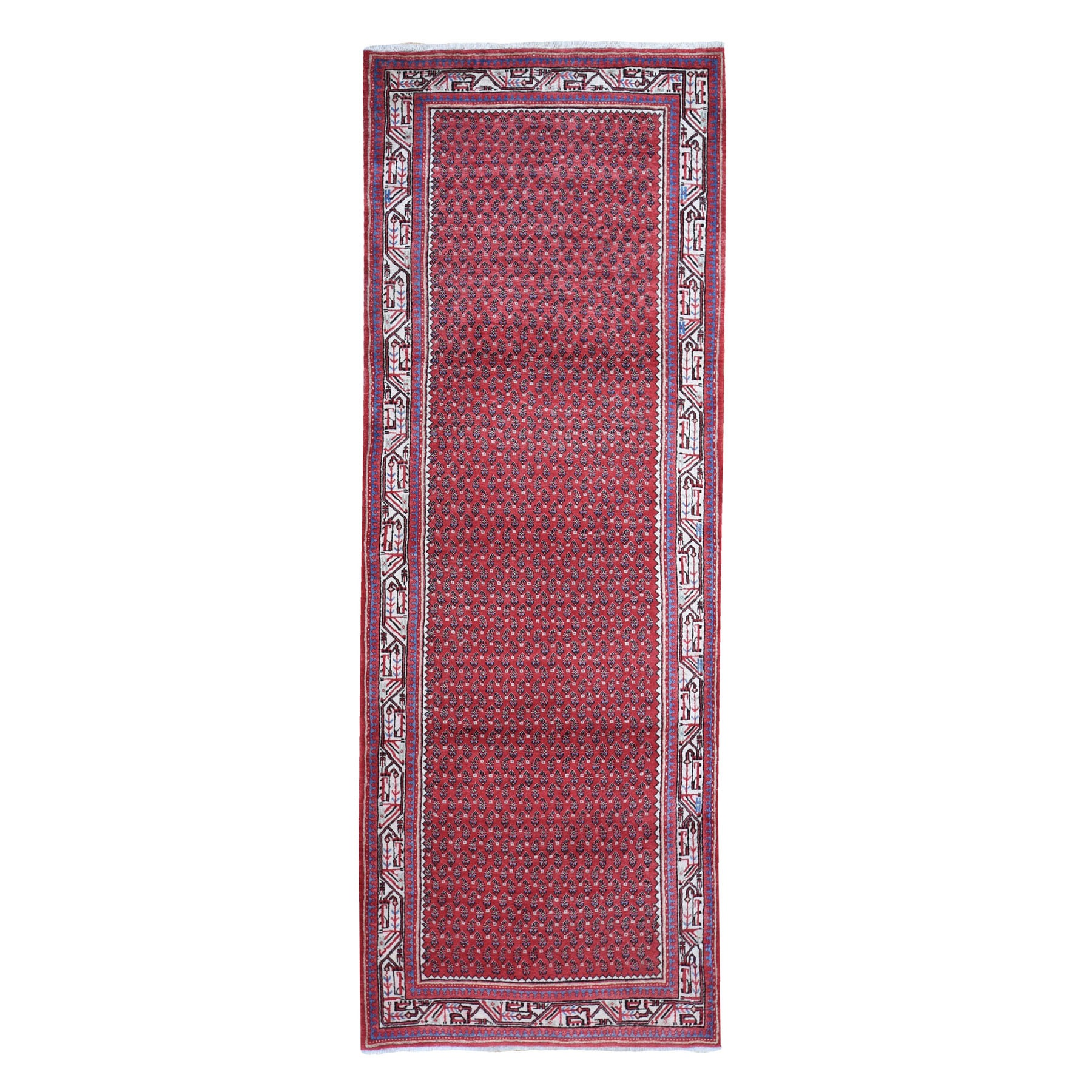 "3'8""x9'9"" Red New Persian Sarouk Mir Pure Wool Wide Runner Hand Woven Oriental Rug"