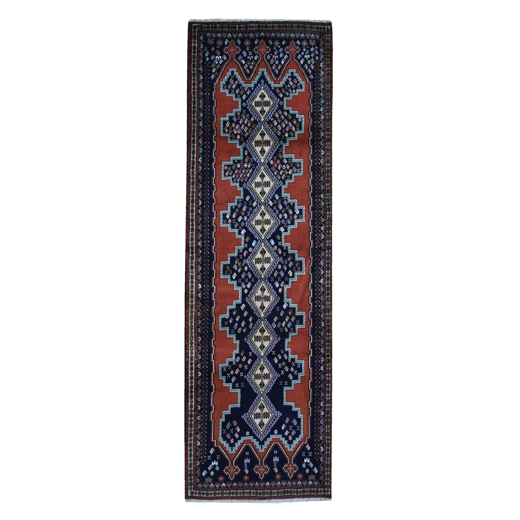 "3'2""x9'10"" New Persian Abadeh Runner Dense Weave Geometric Serrated Medallion Design Pure Wool Hand Woven Oriental Rug"