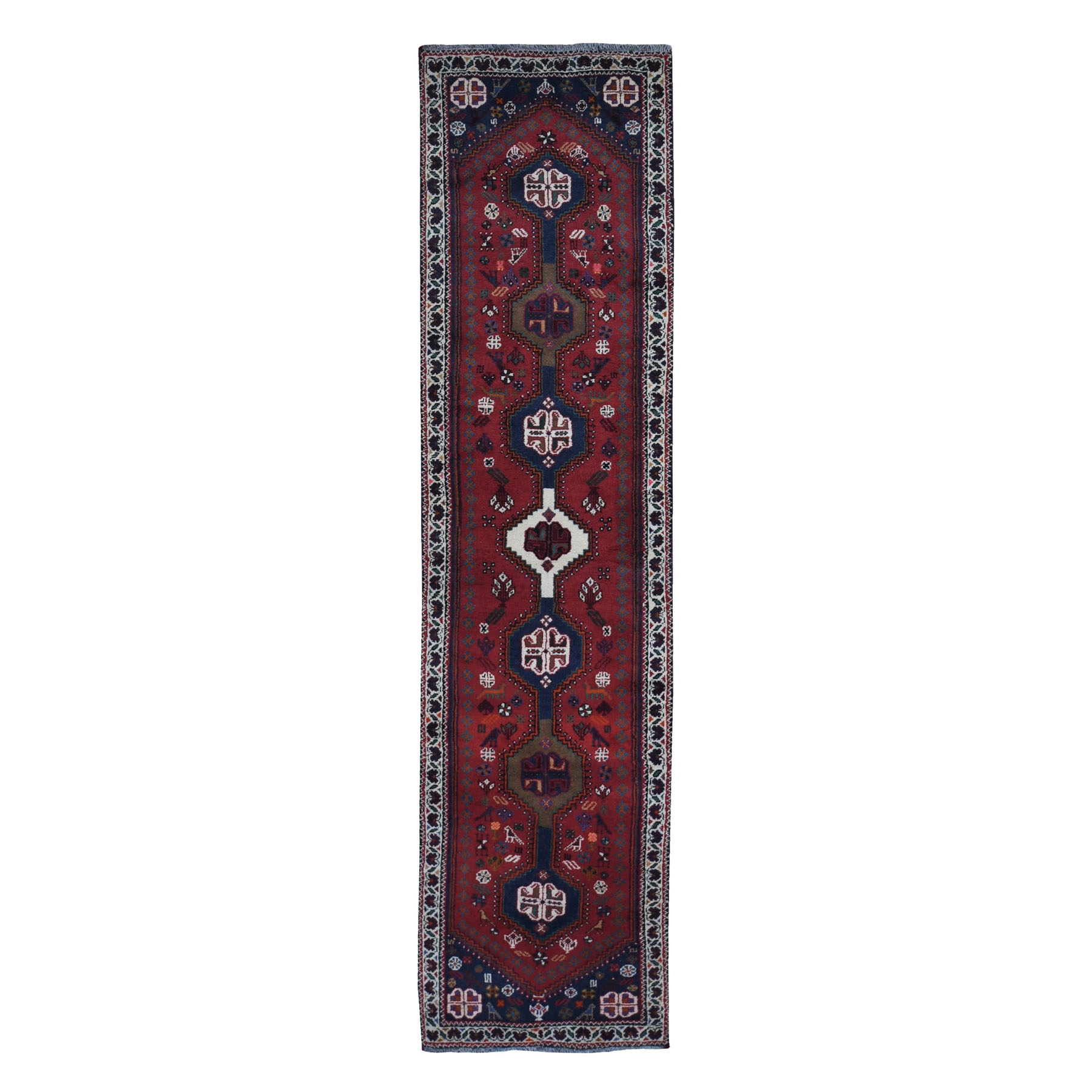 "2'4""x9'5"" New Persian Shiraz Thick and Plush Runner Birds and Animal Figurines Pure Wool Hand Woven Oriental Rug"