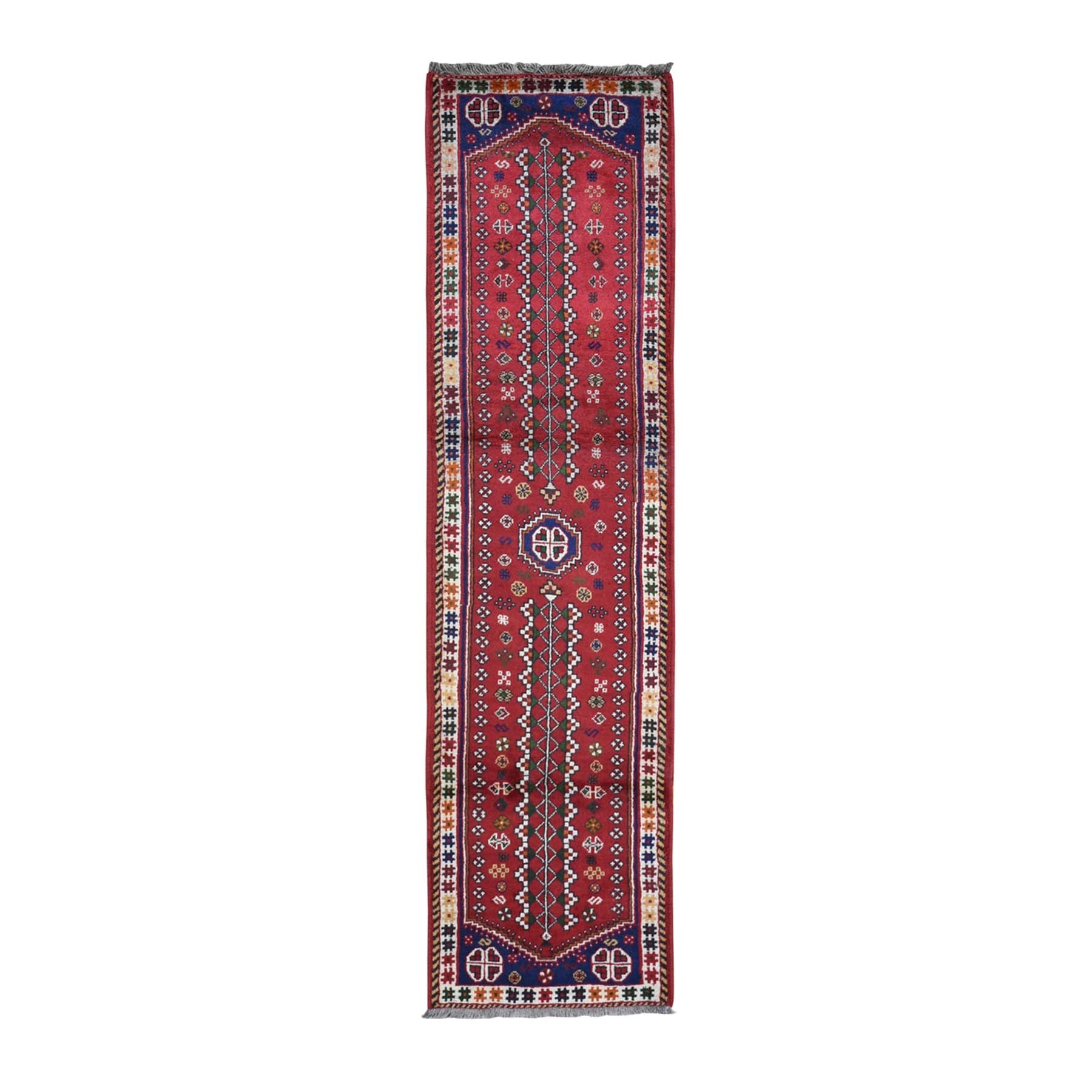 "2'5""x9'7"" Red New Persian Shiraz Runner Natural Wool Hand Woven Oriental Rug"