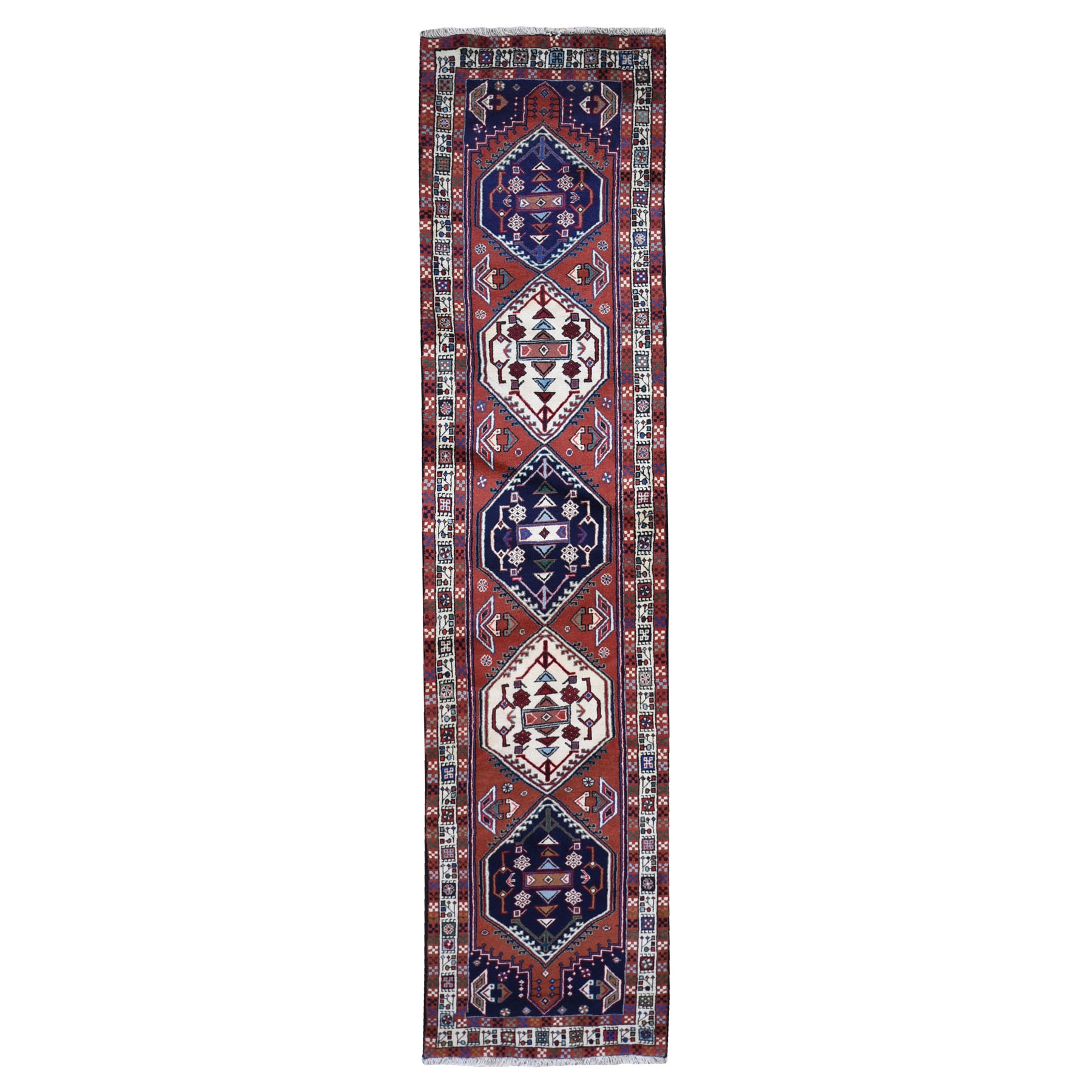 "2'5""x10' Red Geometric Persian Abadeh Pure Wool Hand Woven Runner Oriental Rug"