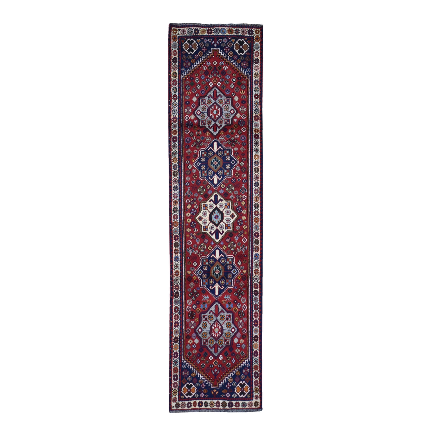 "2'4""x9'5"" Red New Persian Shiraz Pure Wool Dense Weave Hand Woven Runner Oriental Rug"